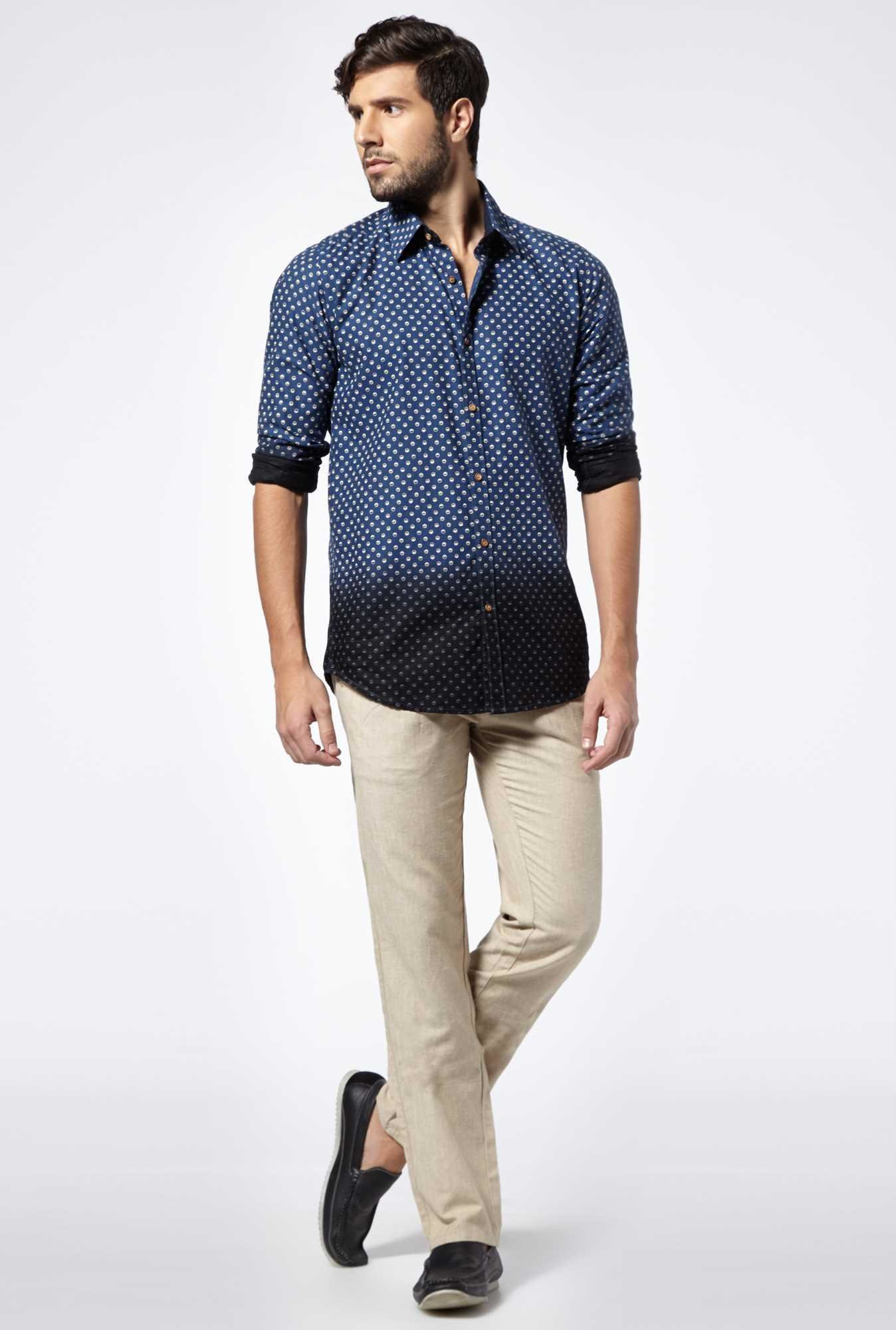 Easies Navy Ivan Linen Casual Shirt