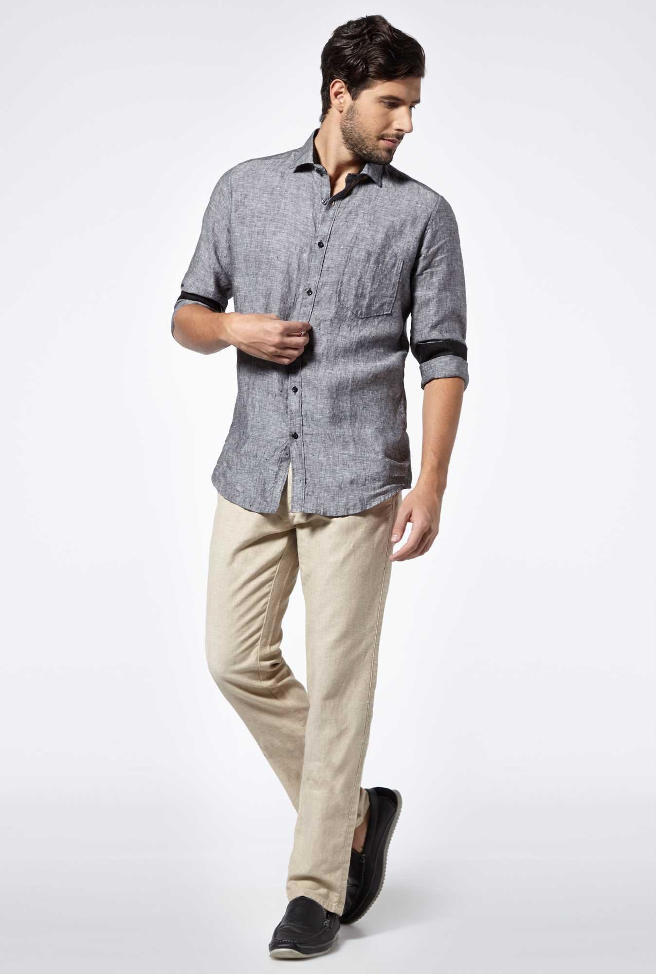 Easies Coal Black Linen Casual Shirt