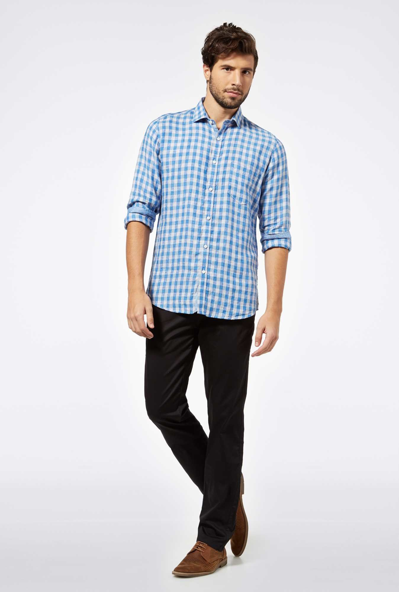 Easies Blue Linen Casual Shirt
