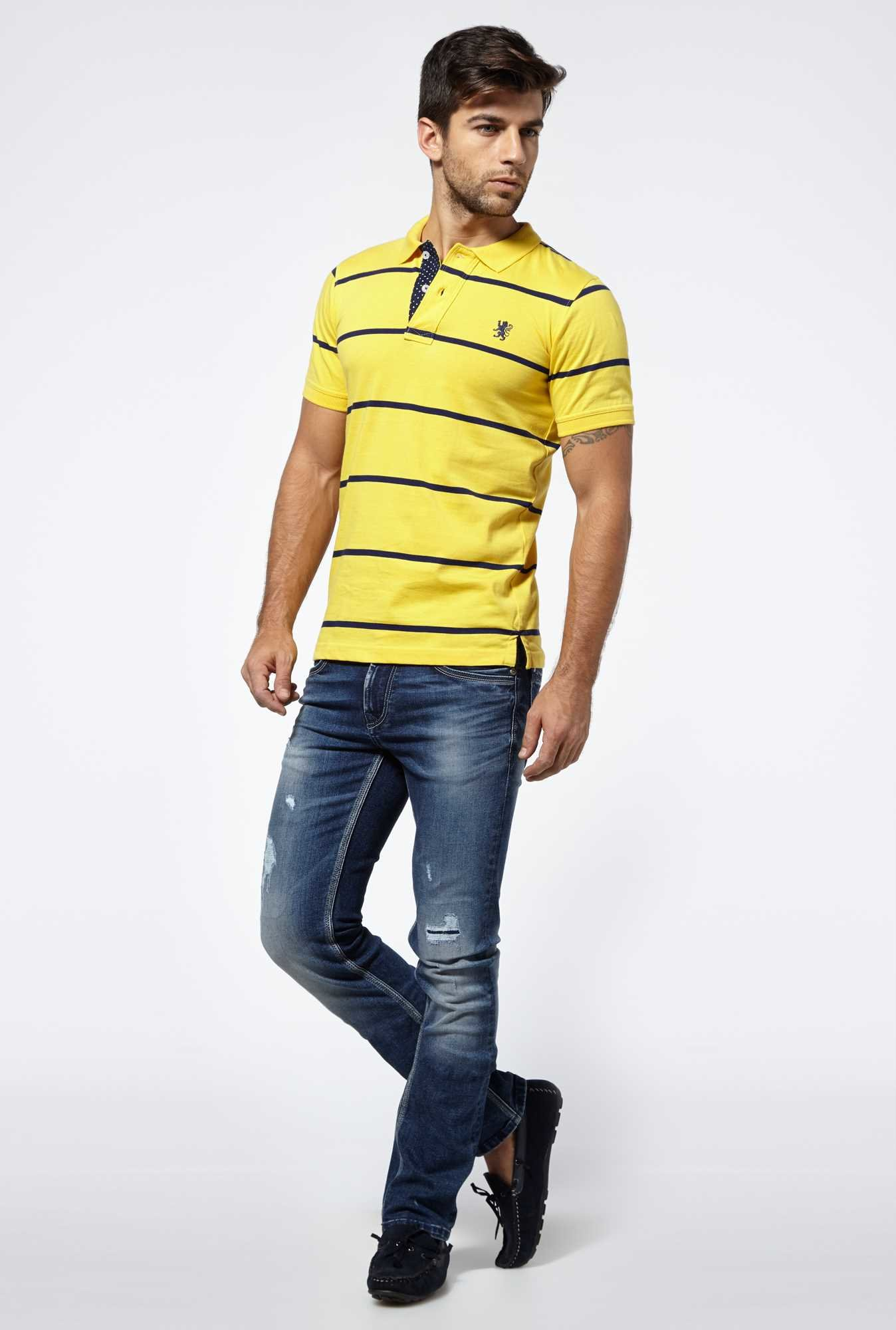 Killer Yellow Striped Polo T-shirt