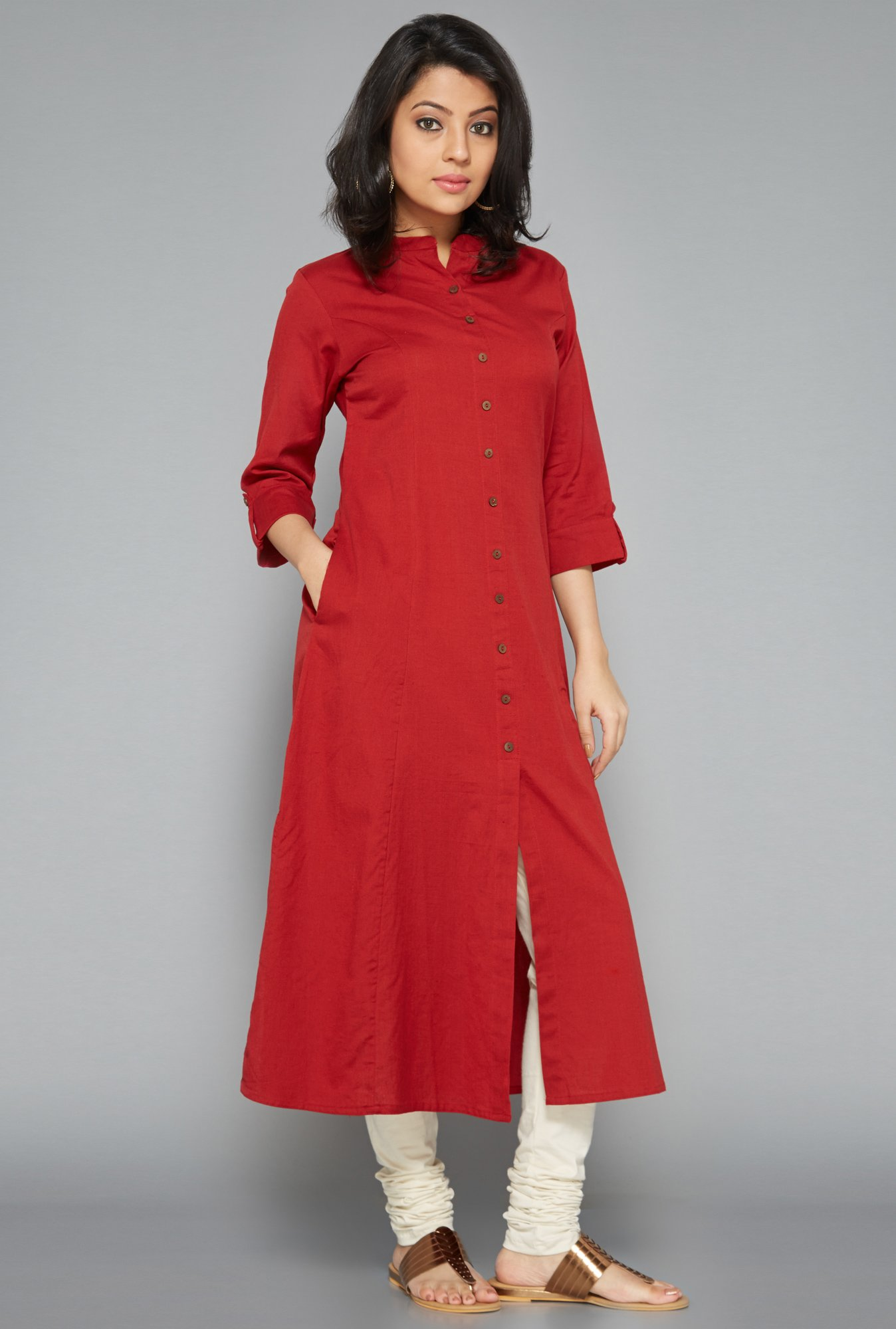 Utsa Red Front Open Kurta