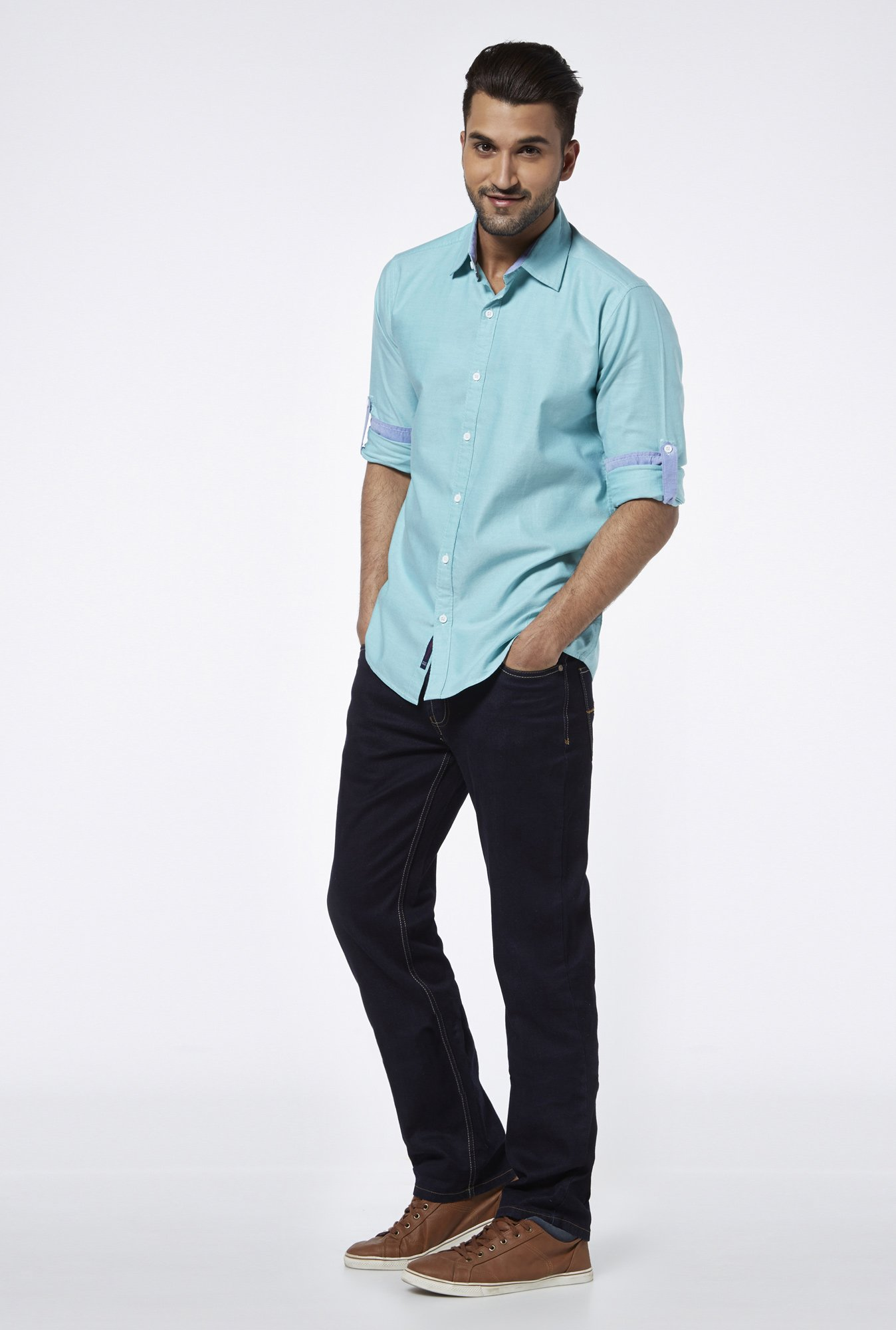 Provogue Teal Slim Fit Shirt