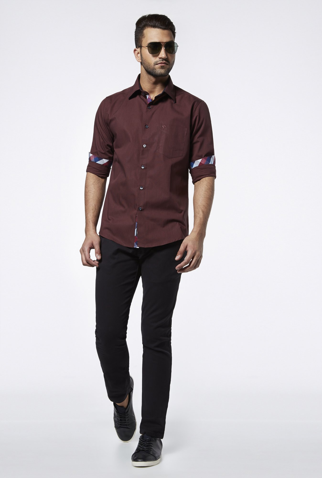 Provogue Maroon Regular Fit Shirt