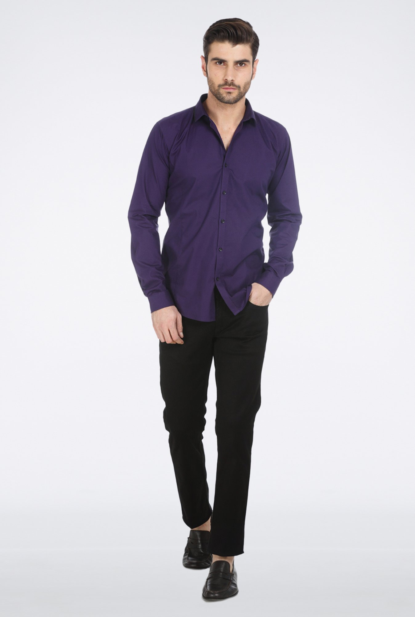 Basics Purple Slim Fit Formal Shirt