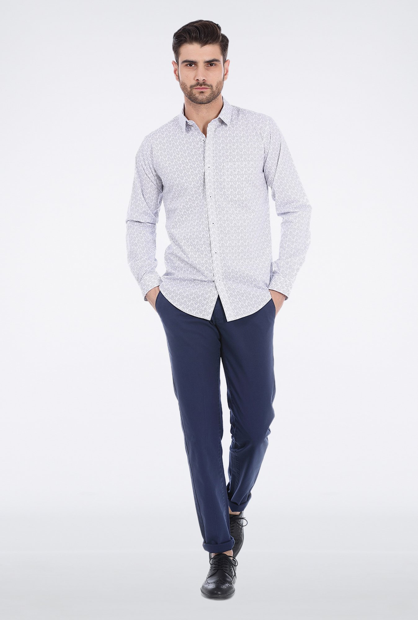 Basics Grey Paisley Printed Formal Shirt