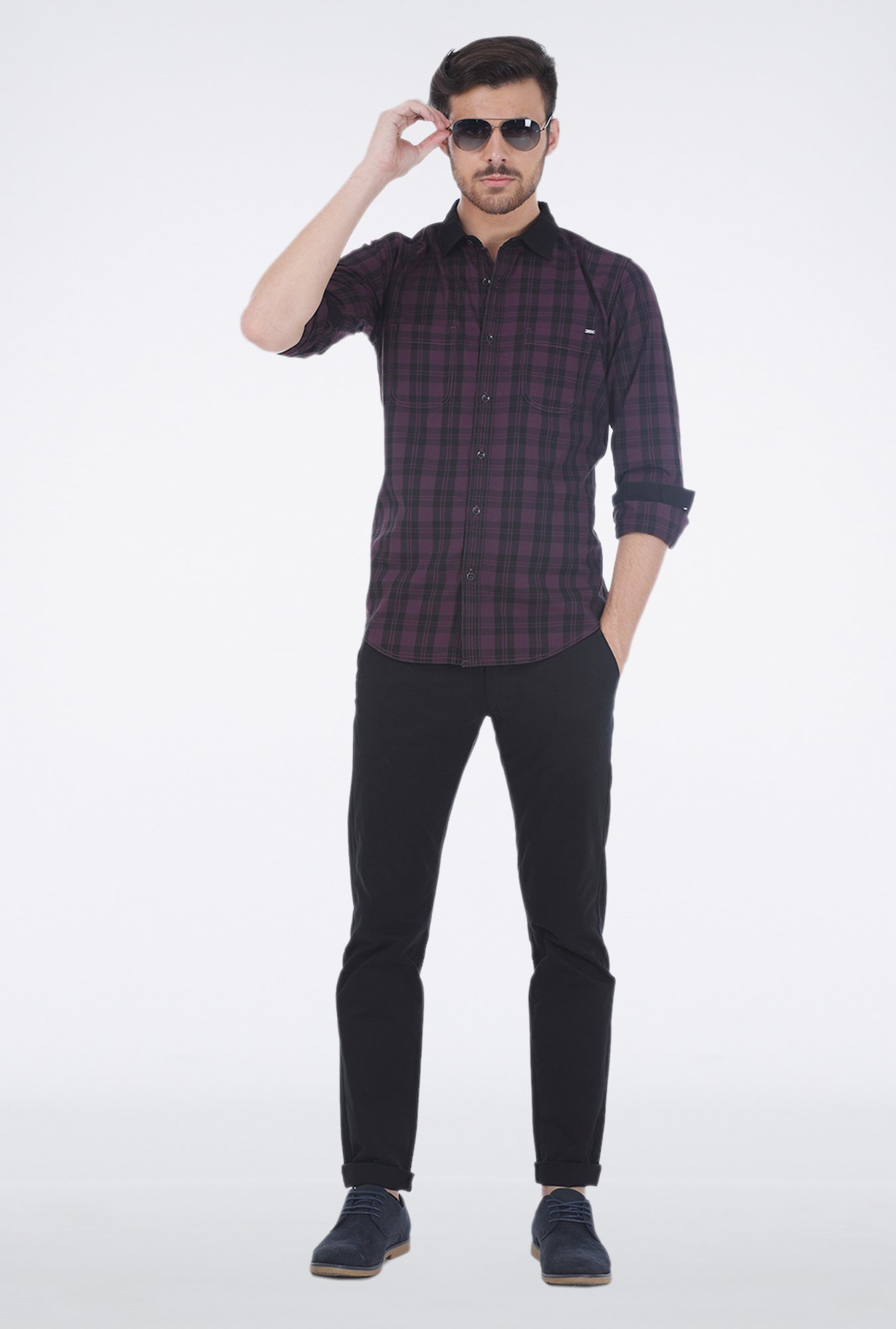 Basics Purple Plaid Shirt