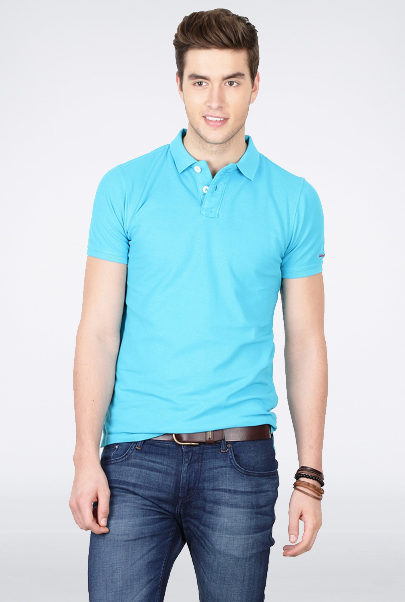 Basics Aqua Polo T Shirt