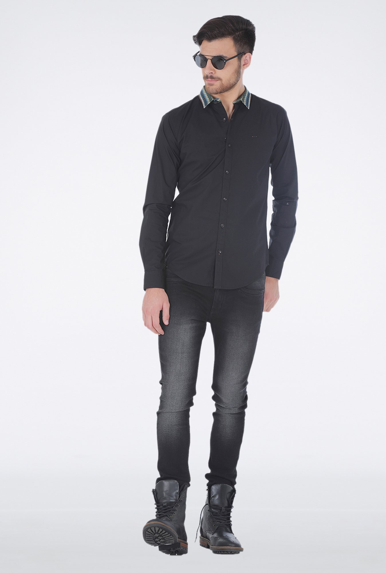 Basics Black Slim fit Casual Shirt