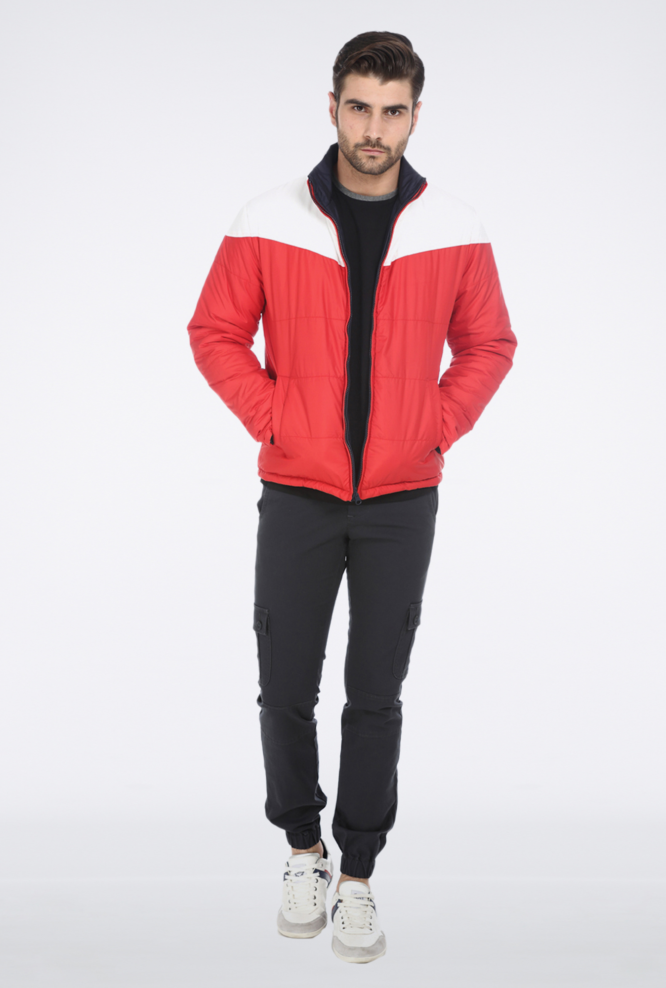 Basics Red Navy Reversible Biker Jacket