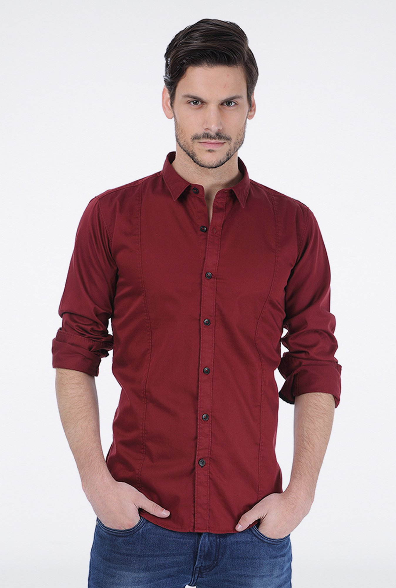 Basics Red Slim Fit Shirt