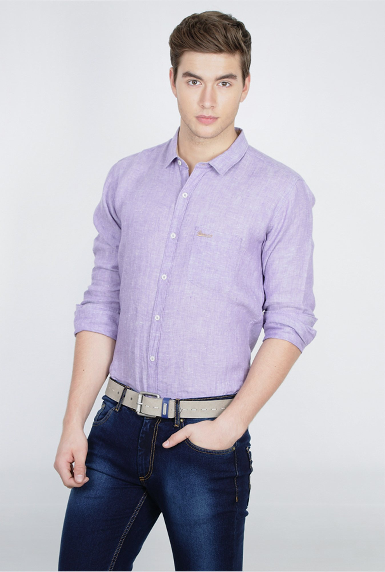 Basics Purple Full Sleeve Linen Shirt