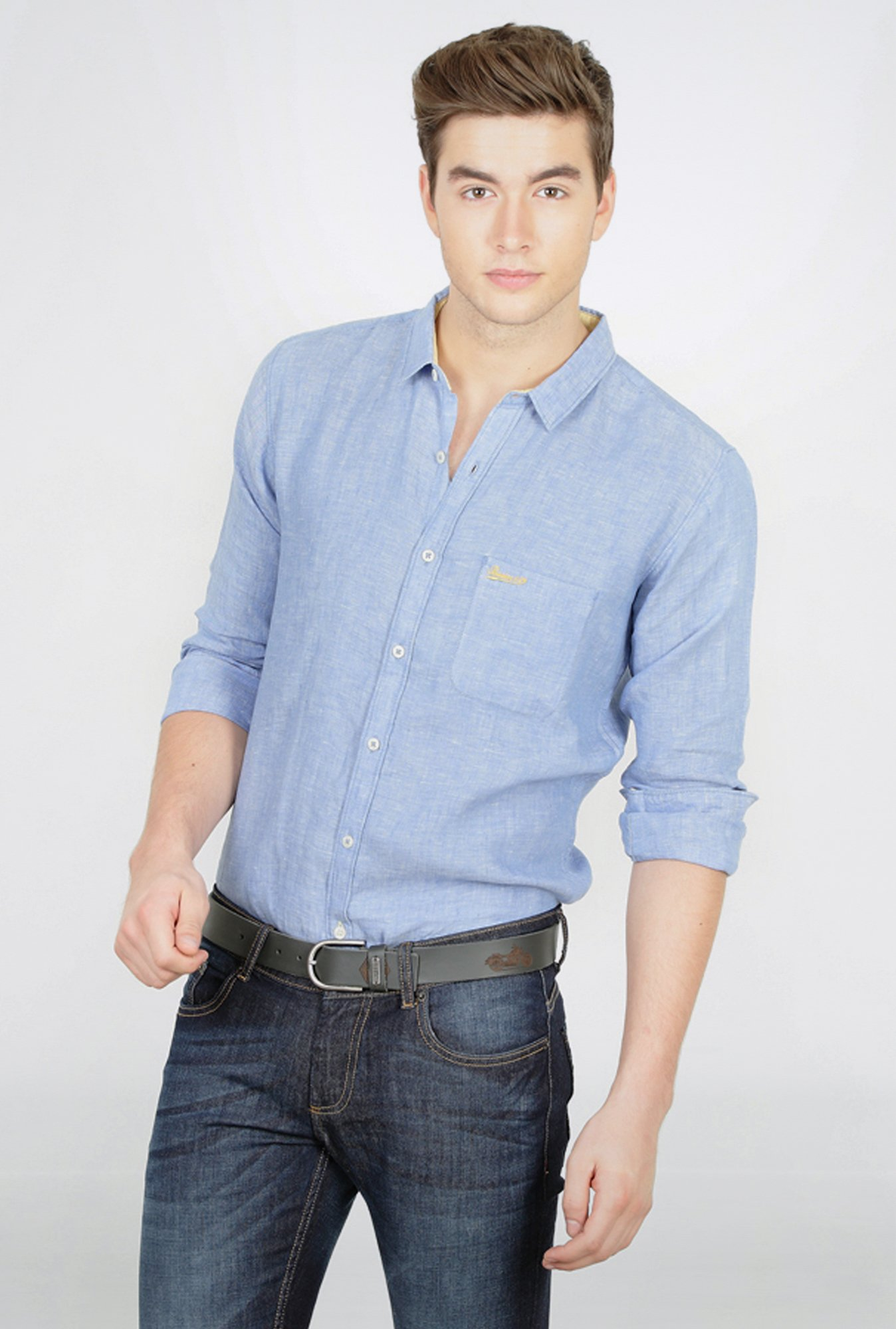 Basics Blue Slim Fit Linen Shirt
