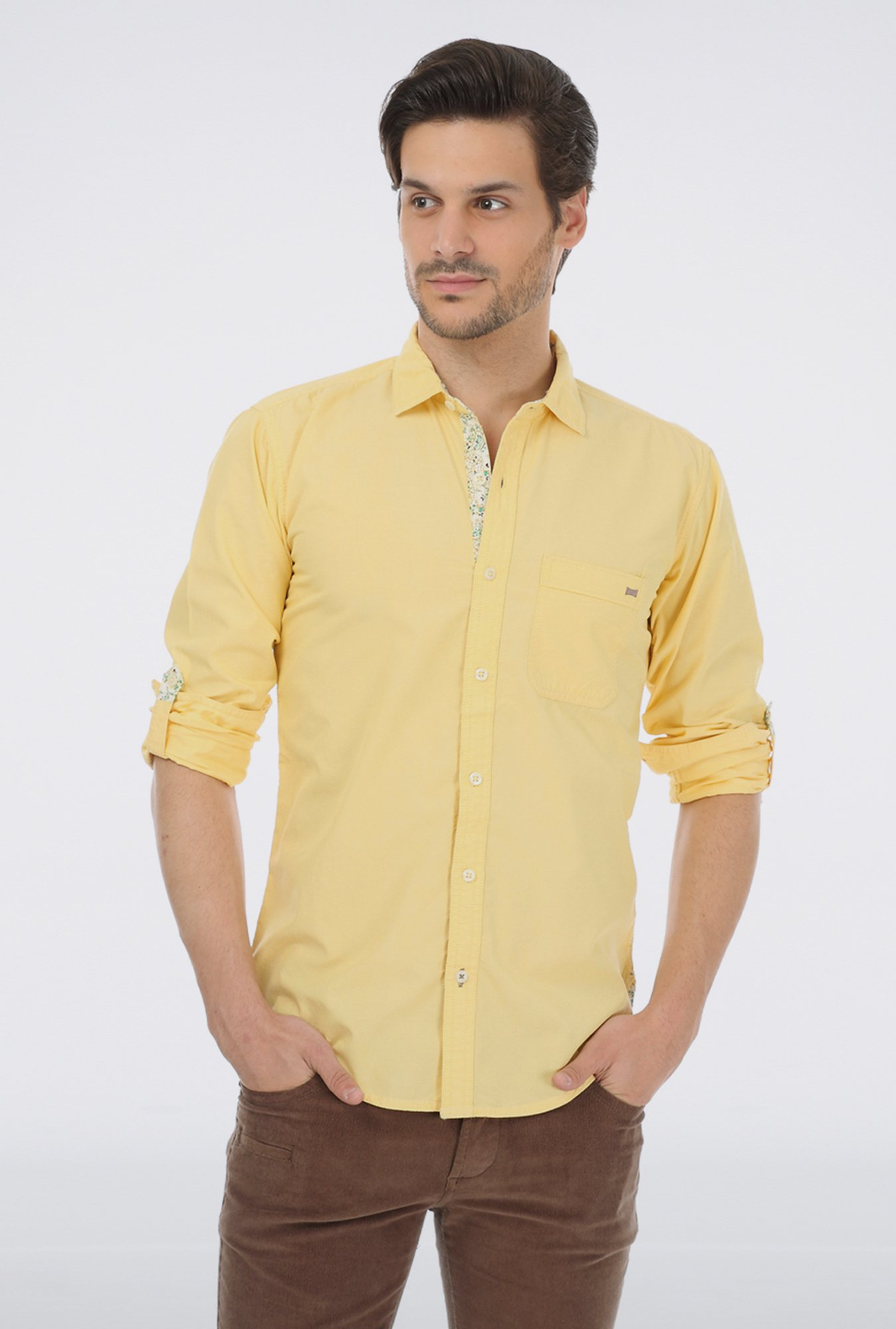 Basics Yellow Cotton Casual Shirt