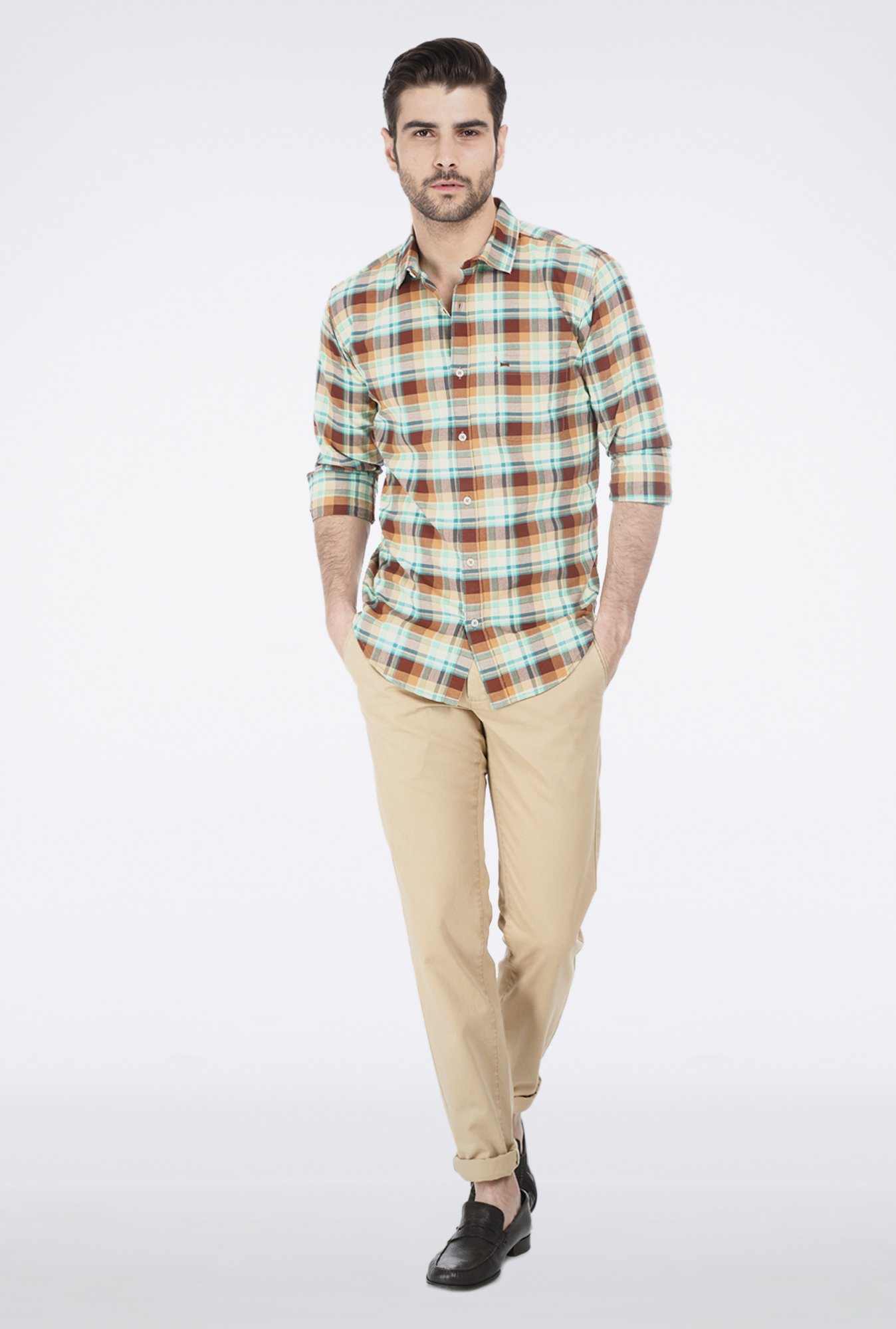 Basics Mink Brown Checkered Shirt