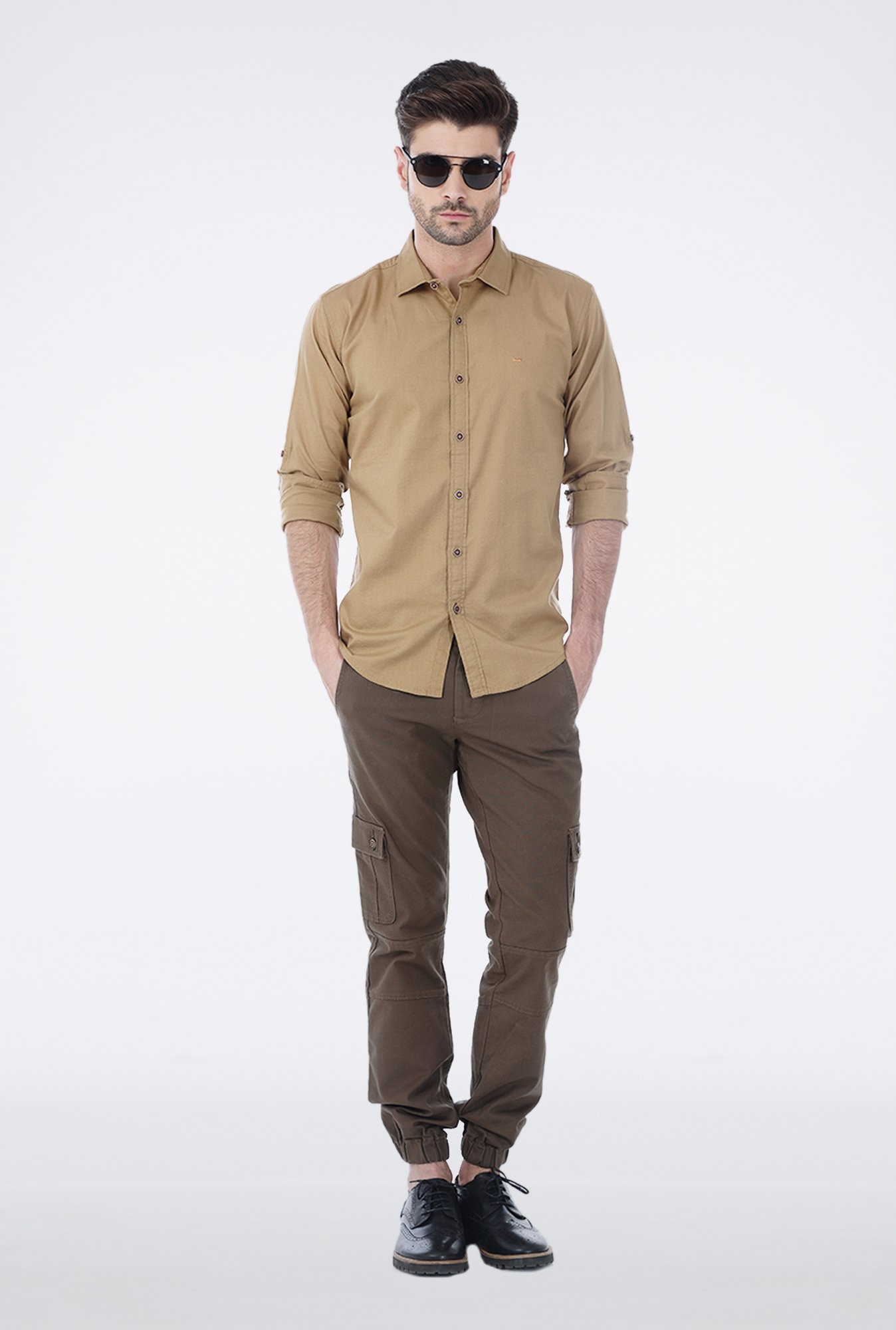Basics Khaki Slim Fit Casual Shirt