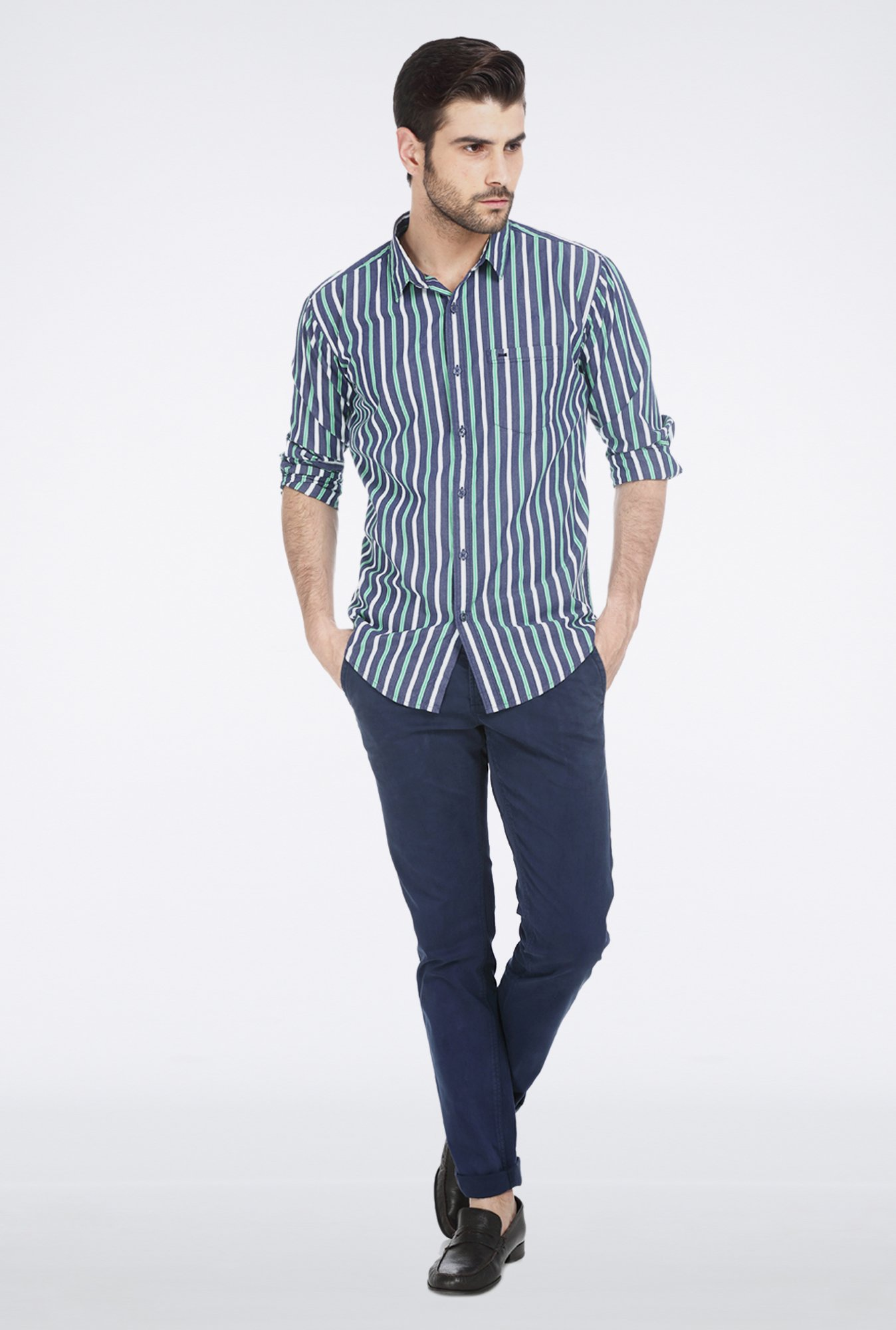 Basics Green Striped Shirt