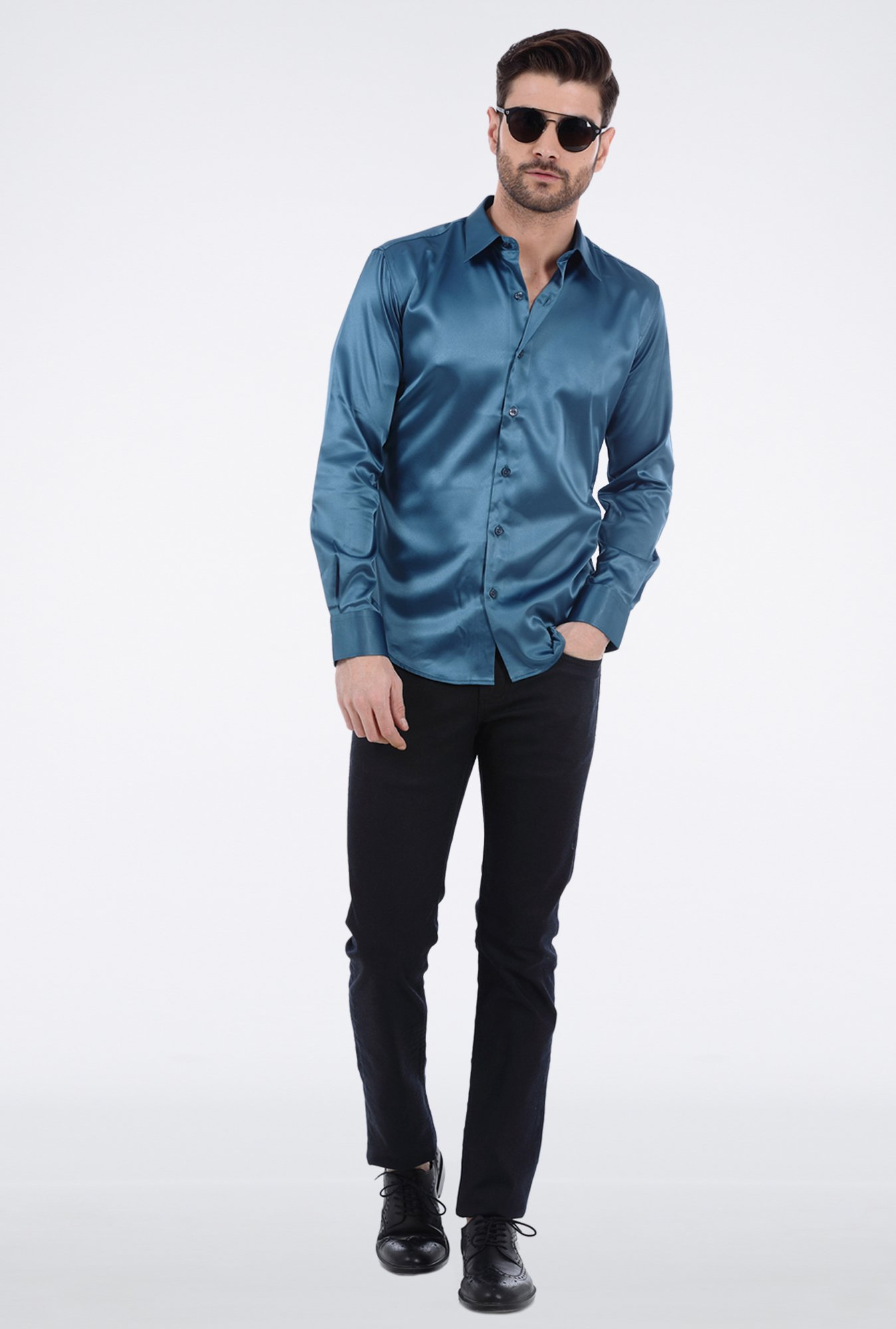 Basics Turquoise Slim Fit Shirt