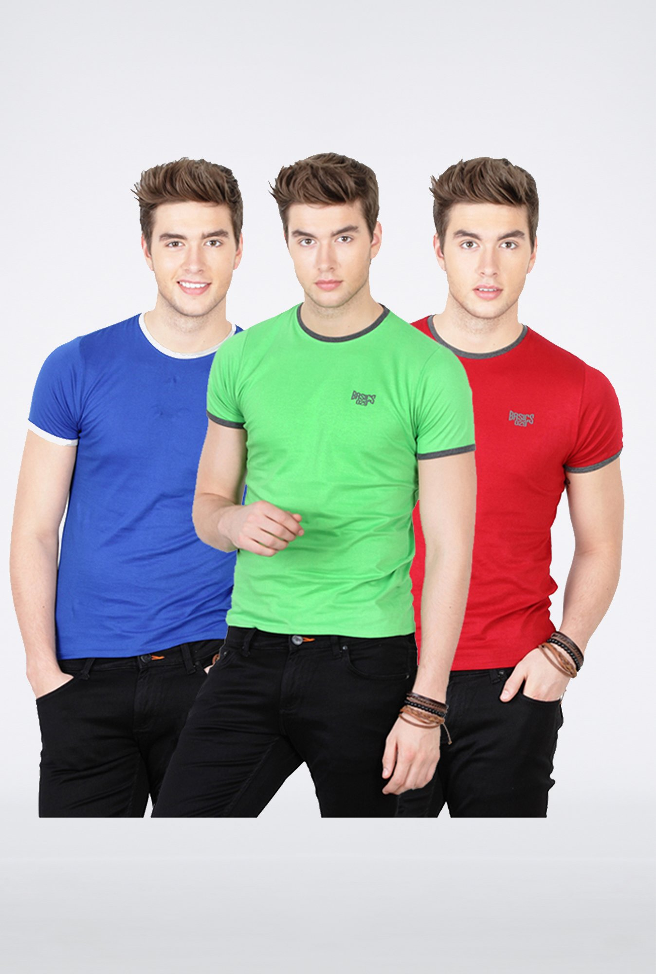 Basics Multi Crew Neck T-Shirt (Pack of 3)