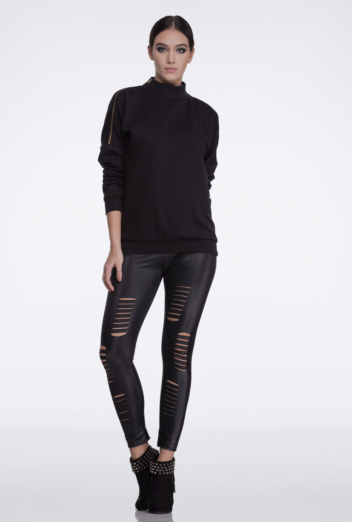Femella Black Side Zipper Sweatshirt