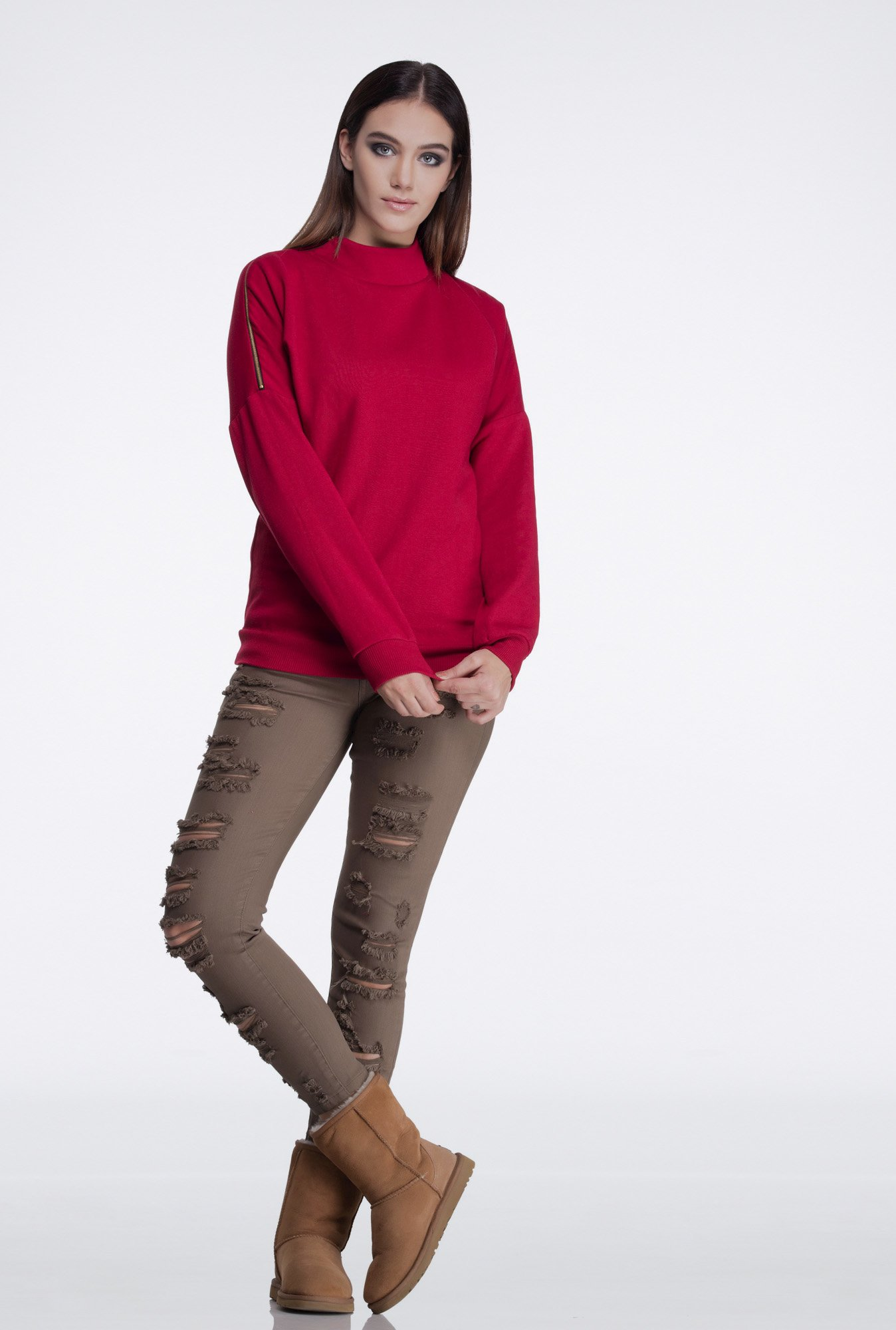 Femella Maroon Side Zipper Sweatshirt