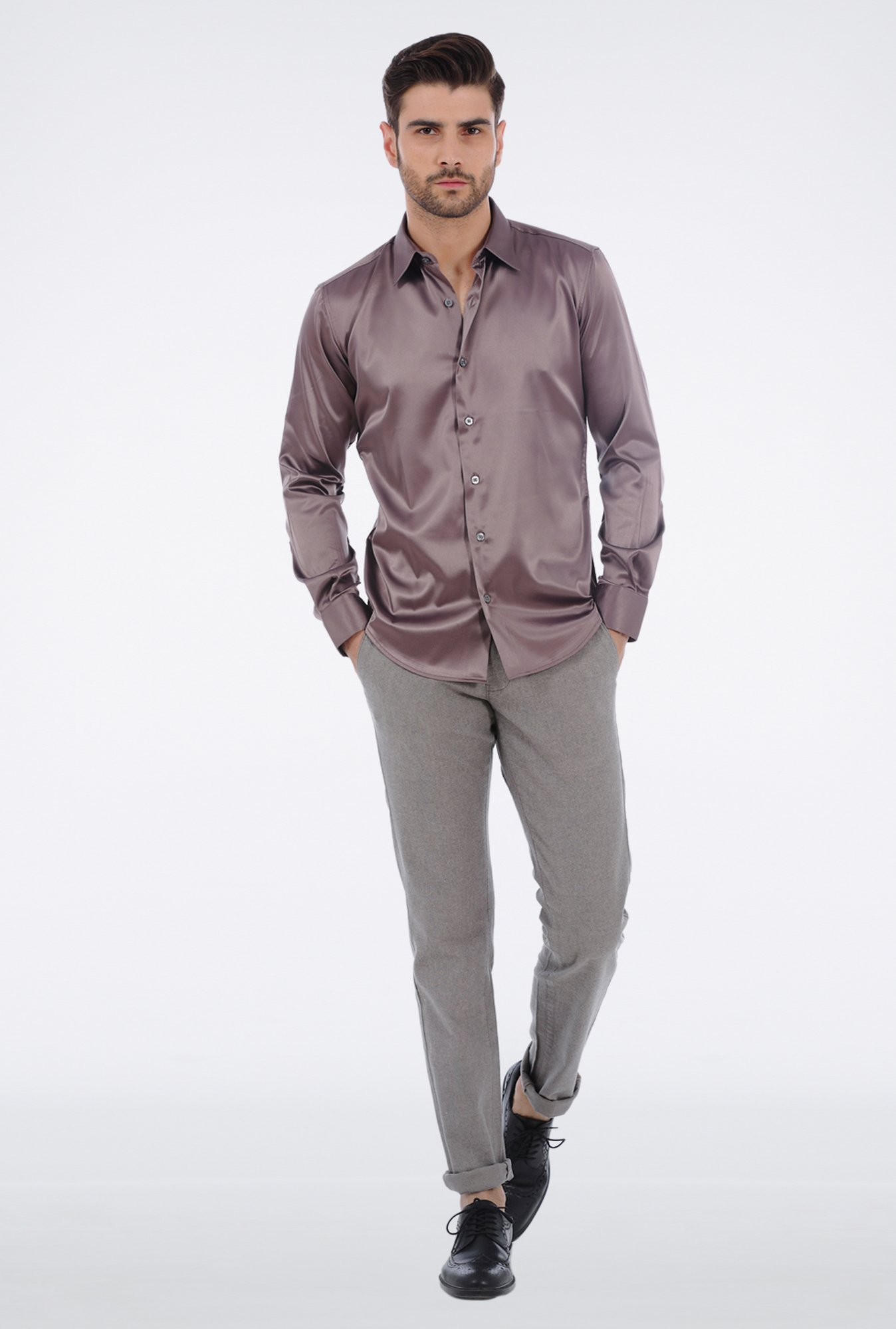 Basics Grey Slim Fit Formal Shirt