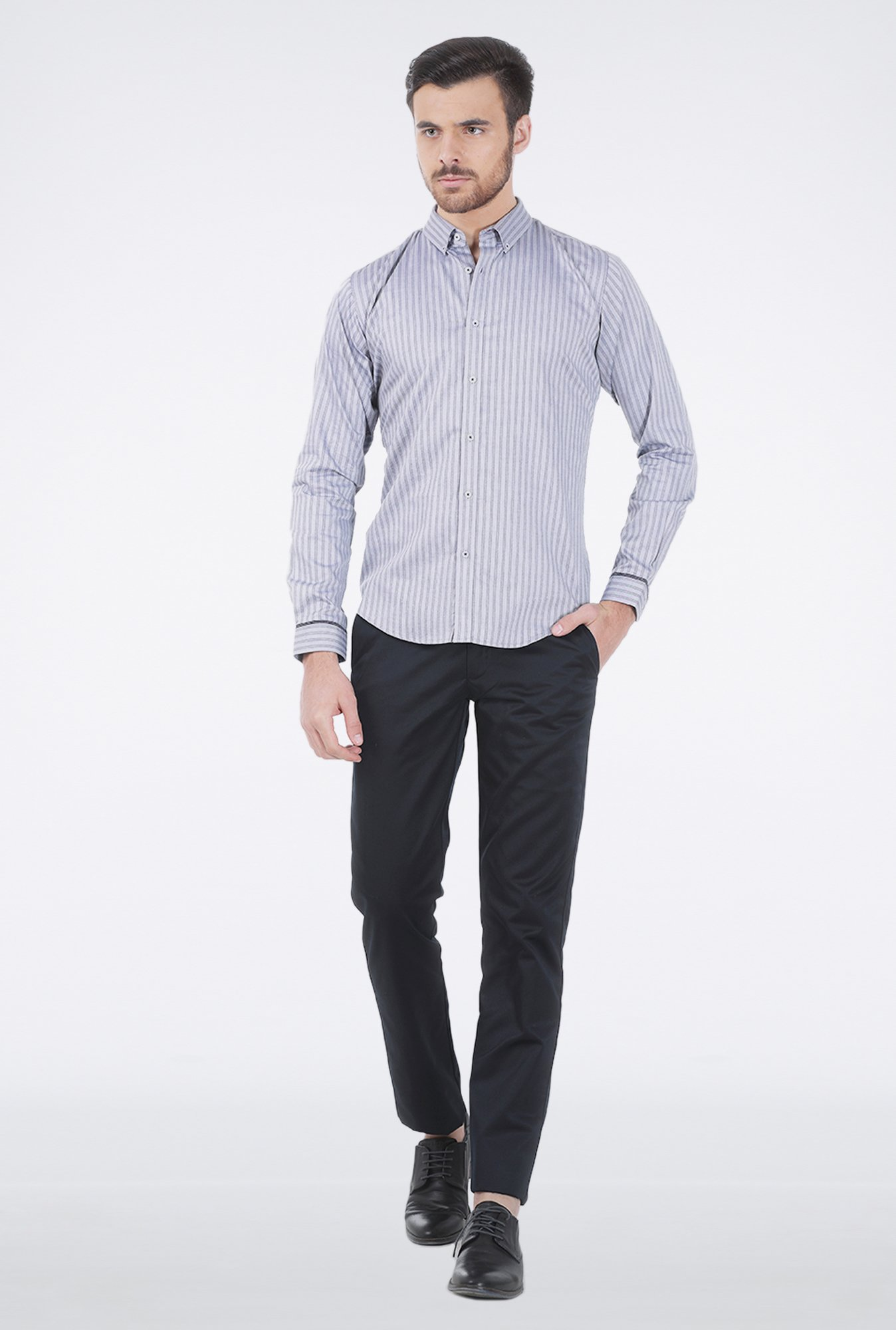 Basics Navy Striped Formal Shirt