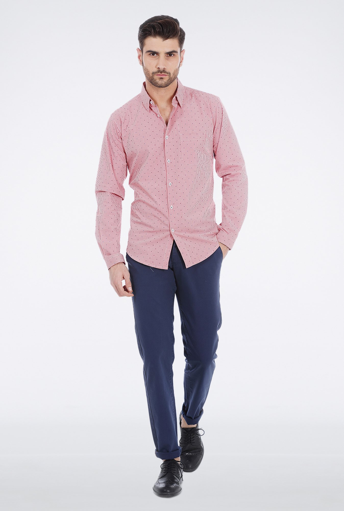 Basics Red Jacquard Formal Shirt
