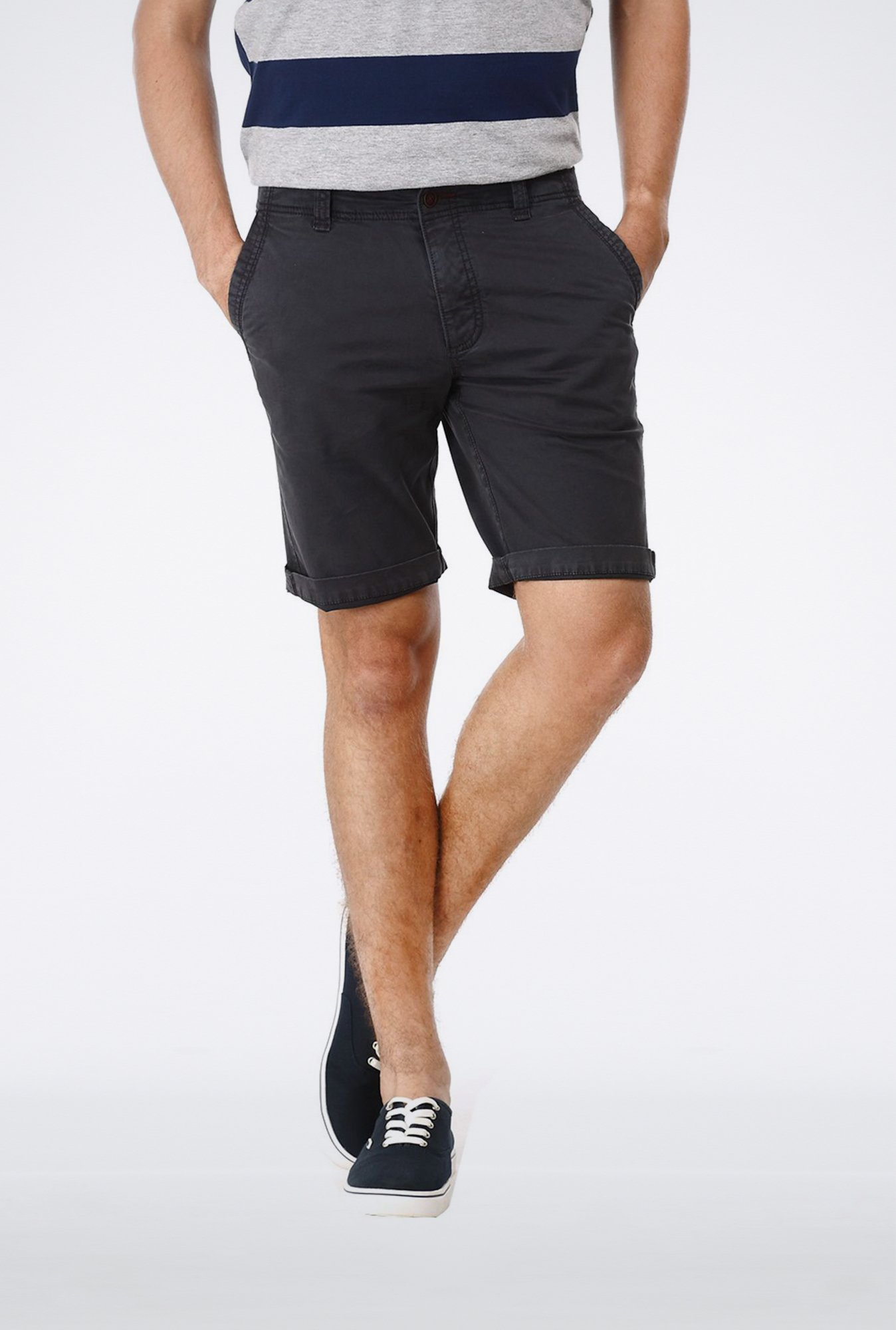 Basics Comfort Fit Dark Grey Garment Dyed Knee Length Shorts