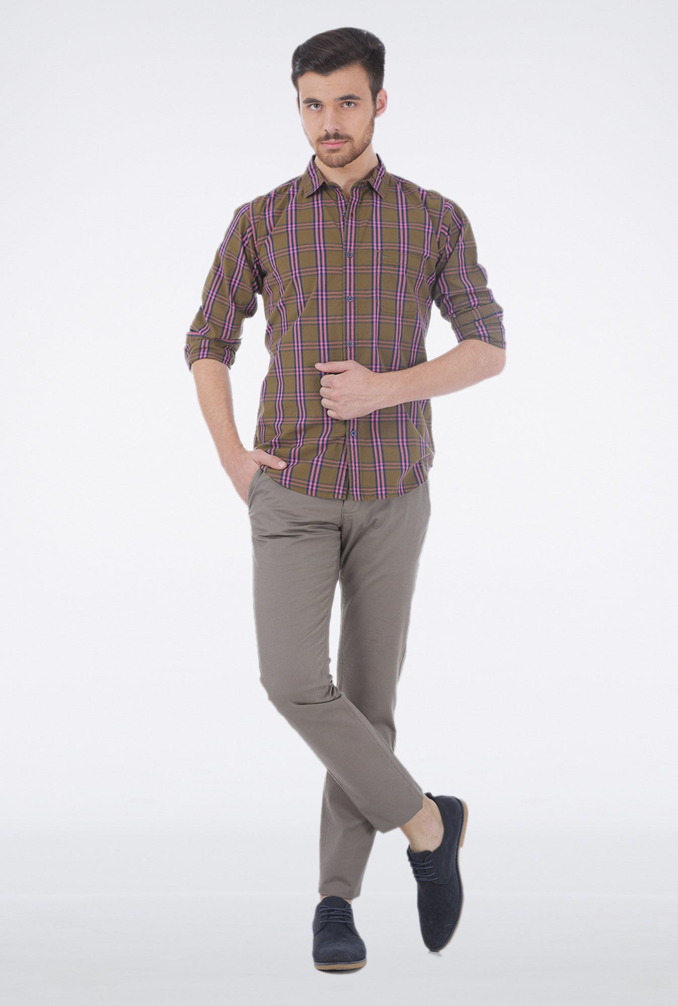 Basics Coral Checkered Shirt