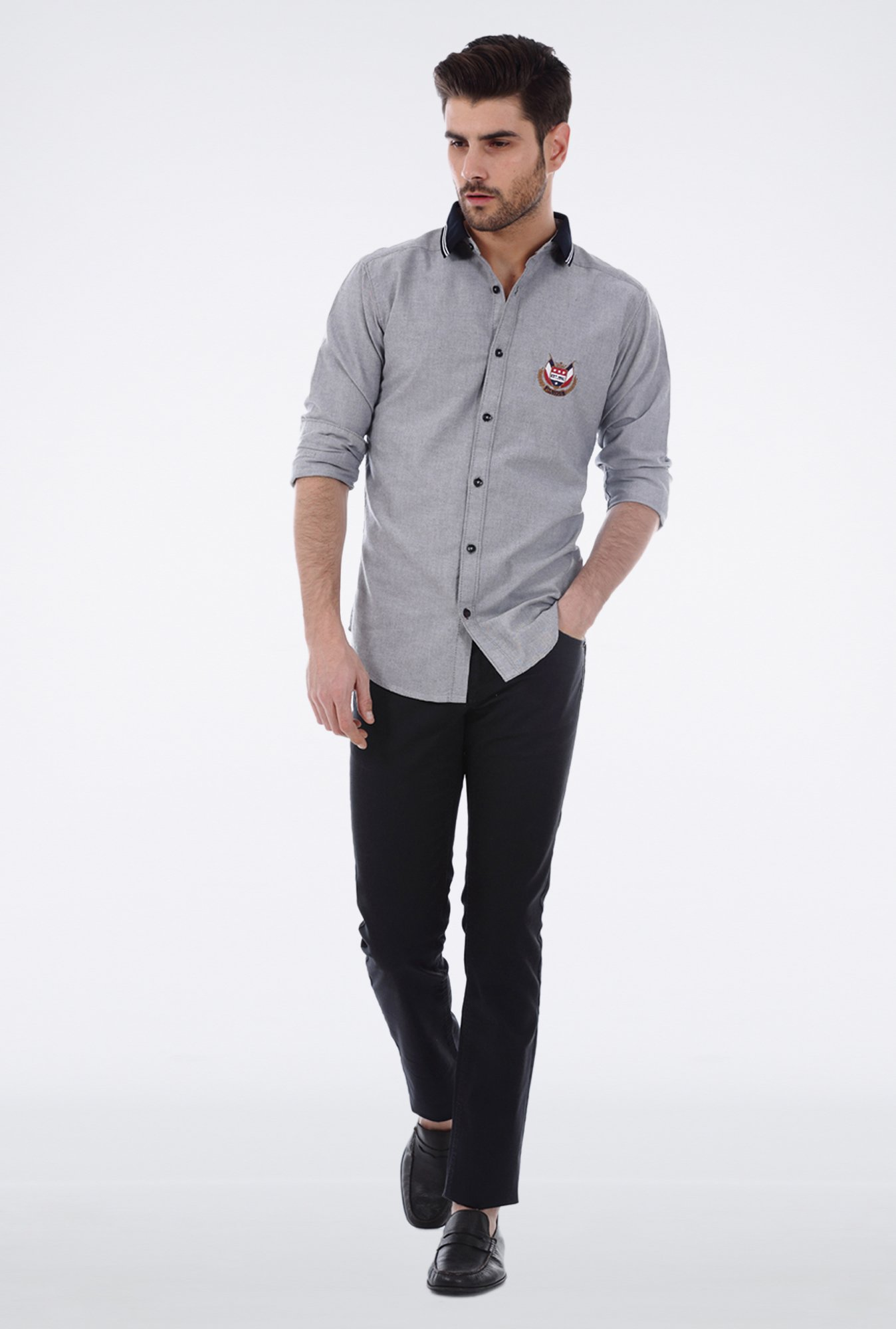 Basics Grey Oxford Weave Shirt