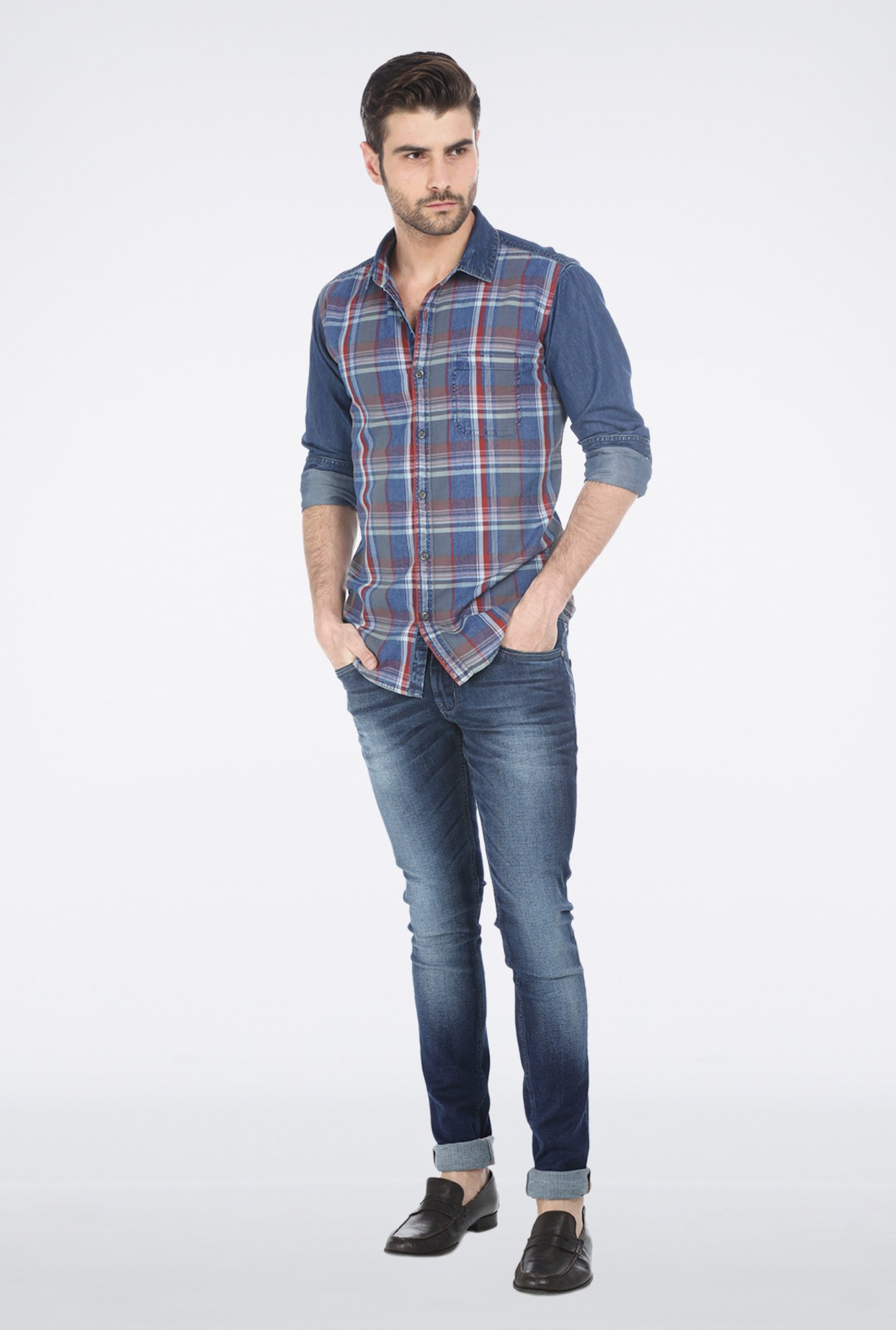 Basics Orange Plaid Denim Shirt