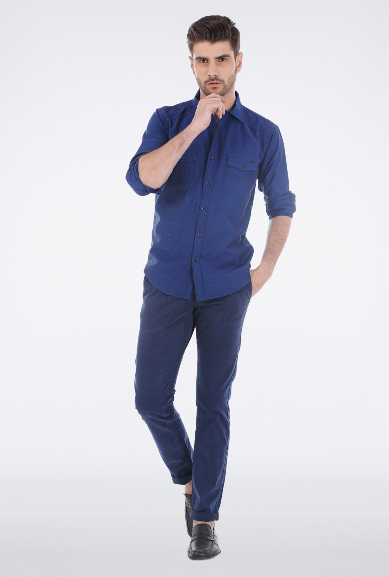 Basics Blue Casual Shirt