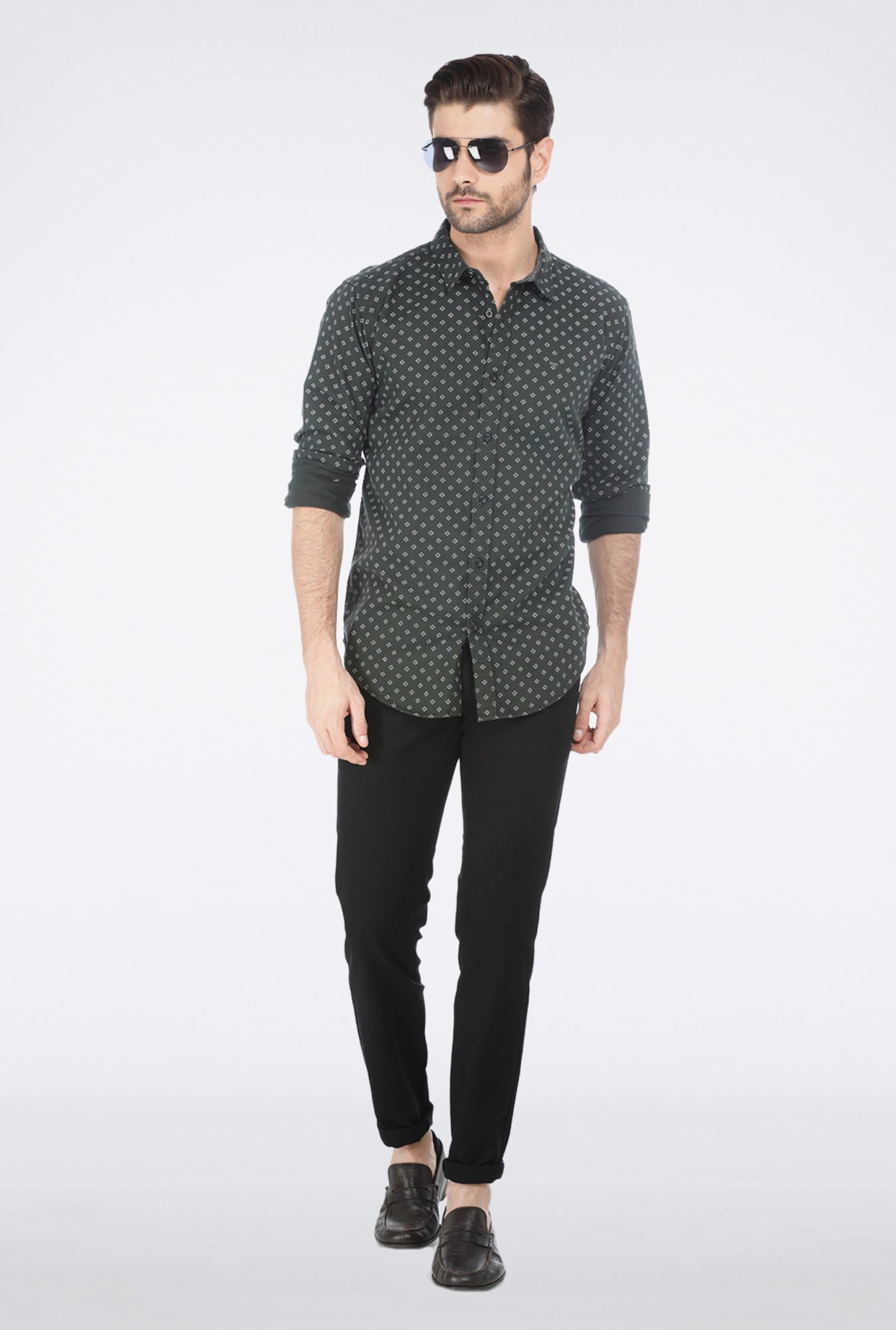 Basics Green Motif Printed Shirt