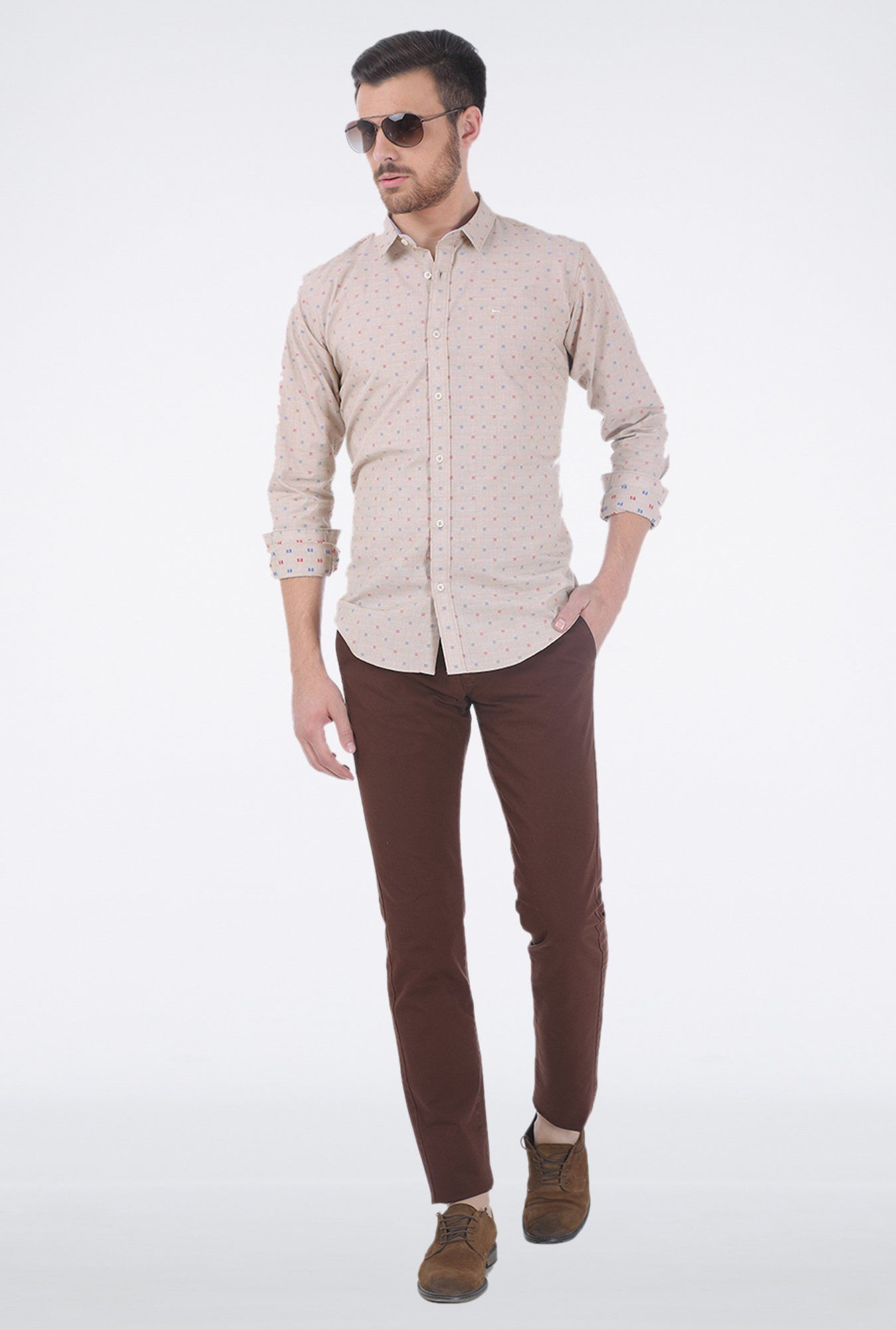 Basics Brown Flat Front Trouser