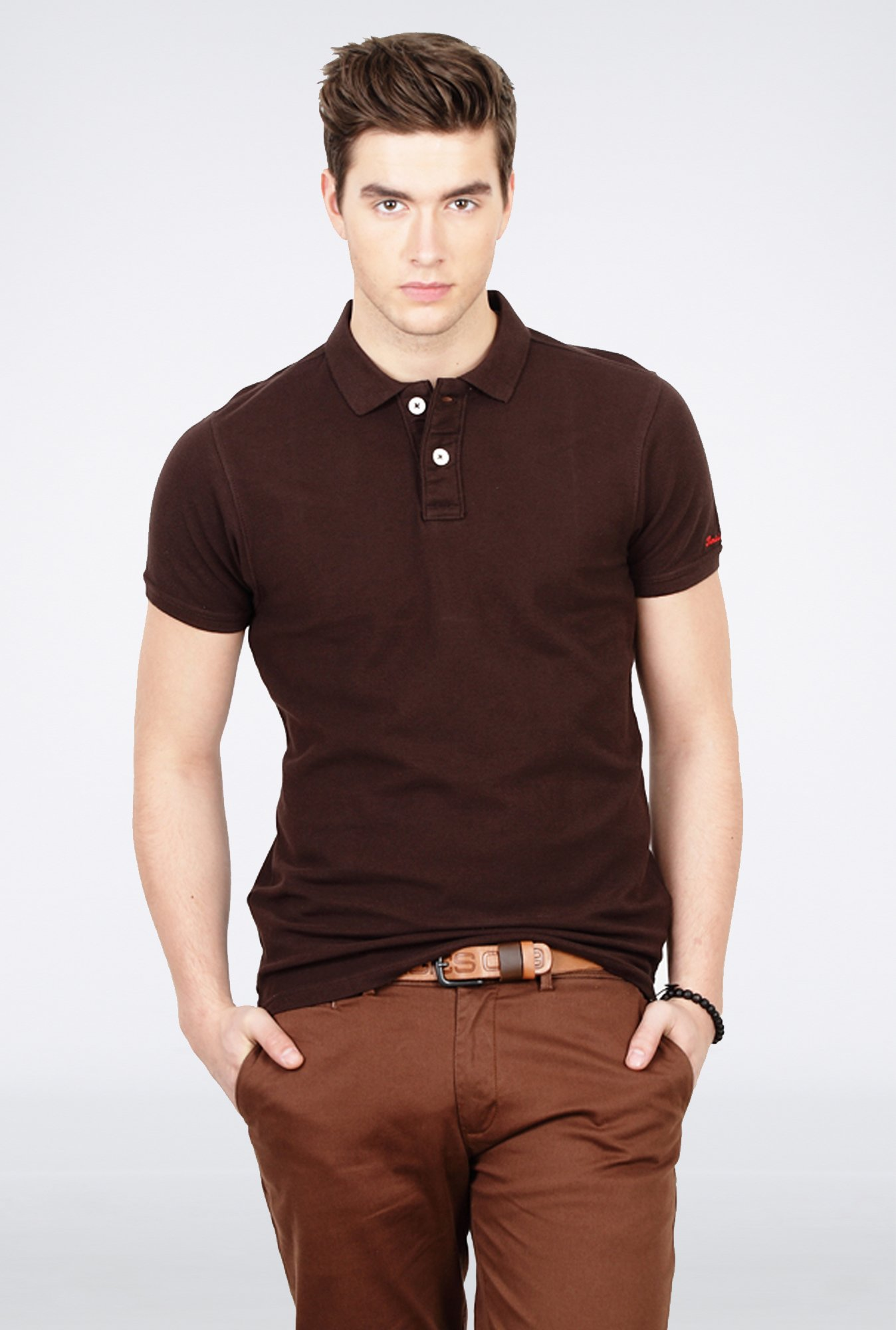 Basics Brown Polo T Shirt