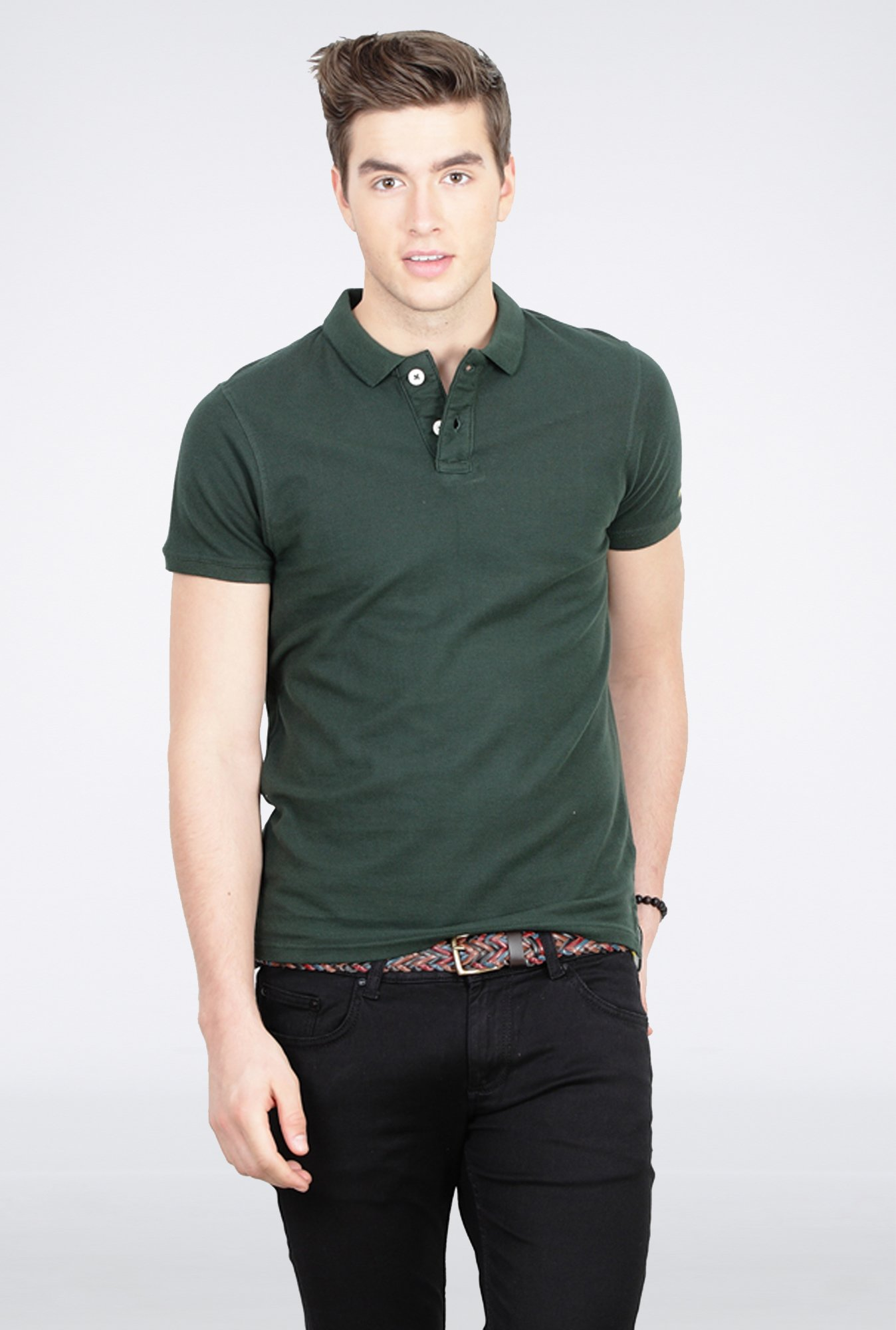 Basics Dark Green Polo T Shirt
