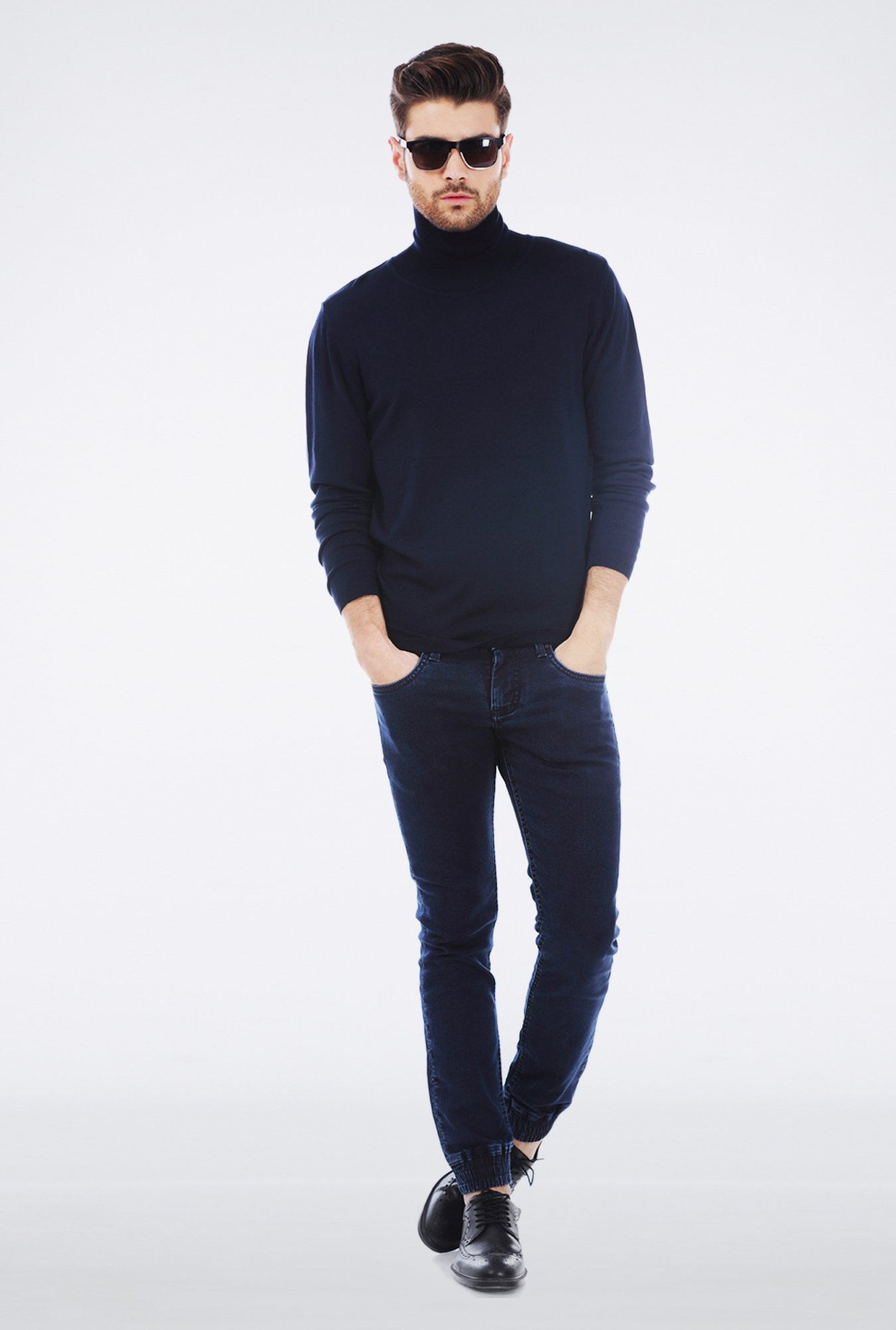 Basics Navy Turtle neck T Shirt