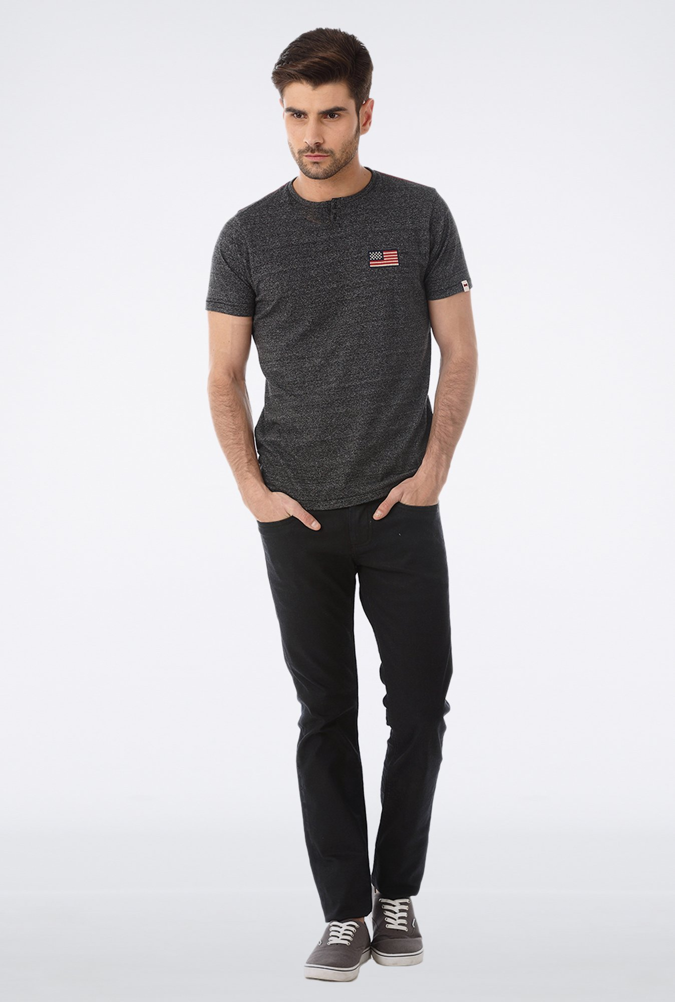 Basics Black Henley Neck T Shirt