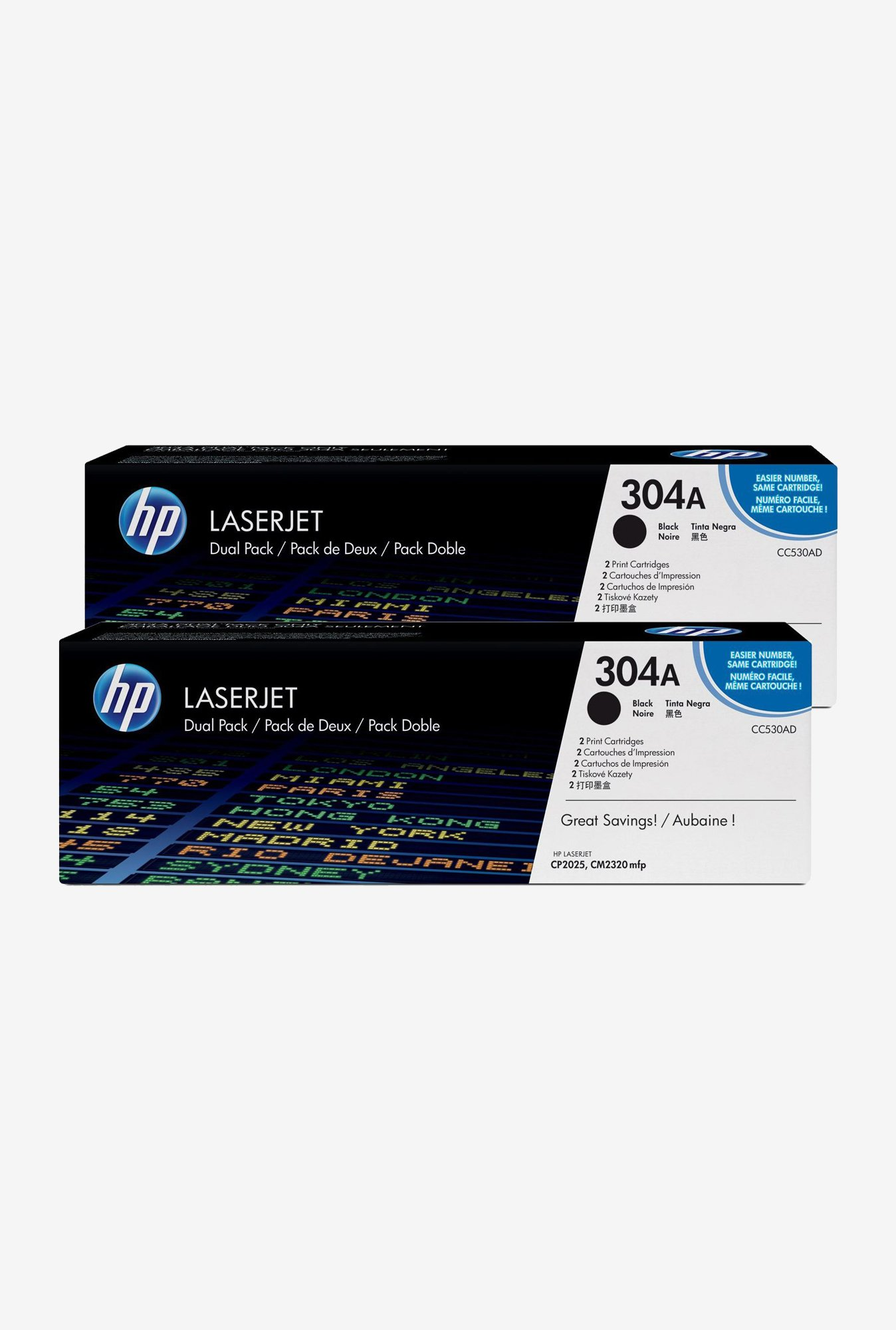HP 304A 2-Pack LaserJet CC530AD Toner Cartridge Black