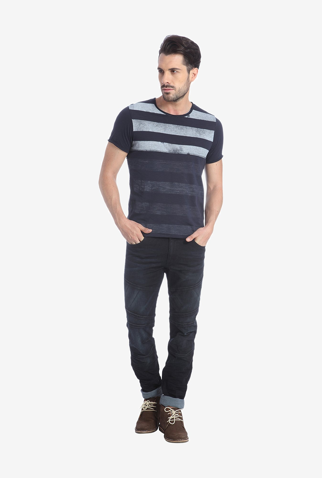 Jack & Jones Navy Striped T Shirt