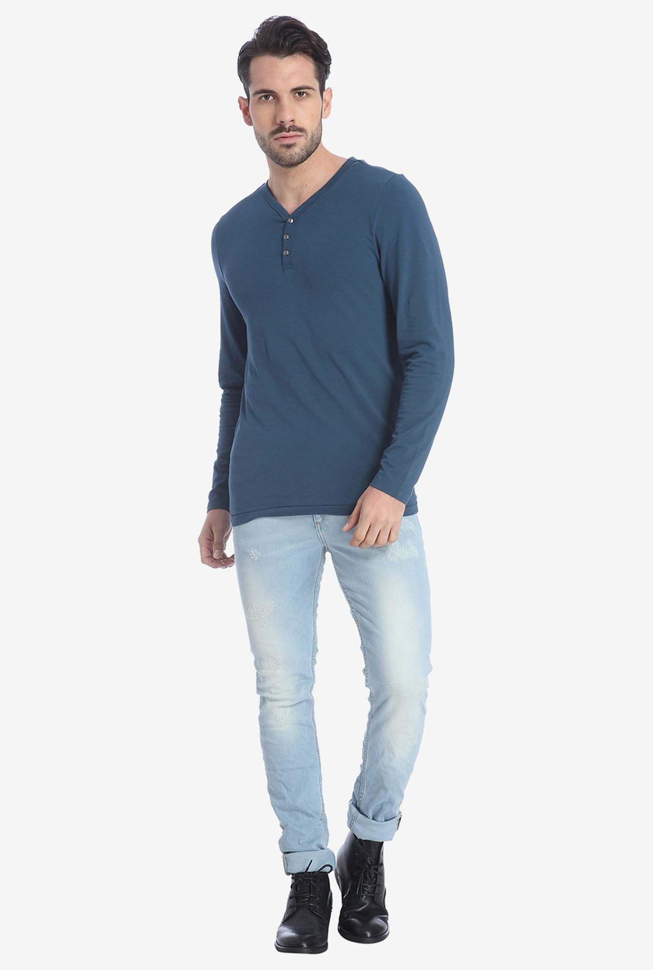 Jack & Jones Blue Henley T Shirt