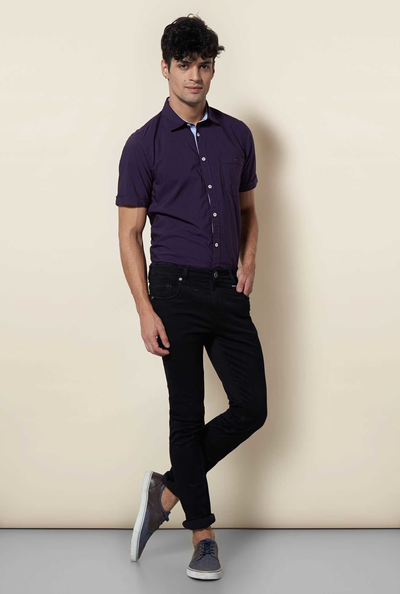 Lawman Purple Short Sleeve Casual Shirt