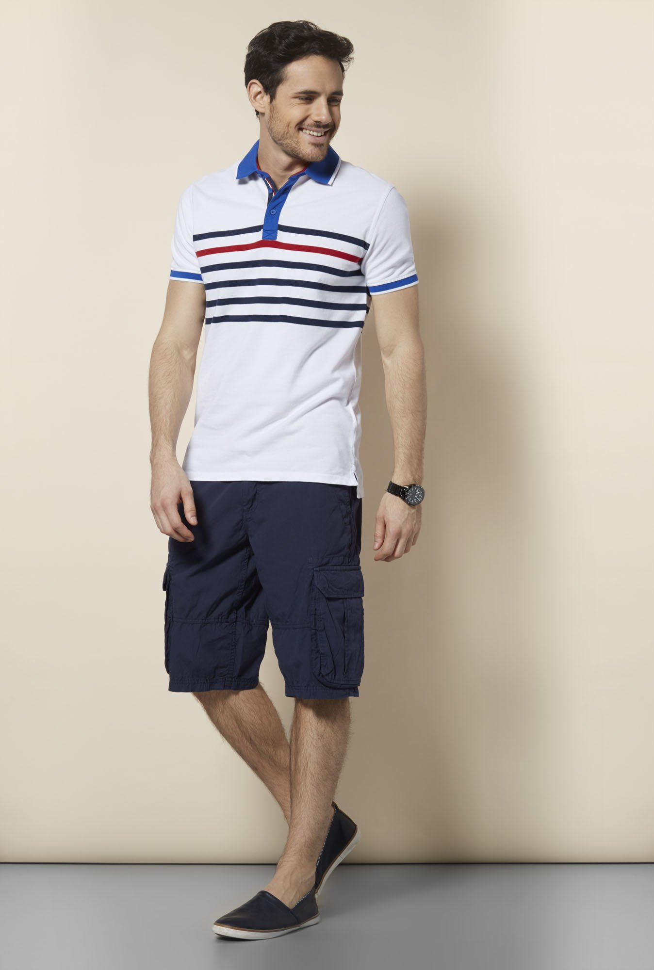 celio* Off White Polo T Shirt