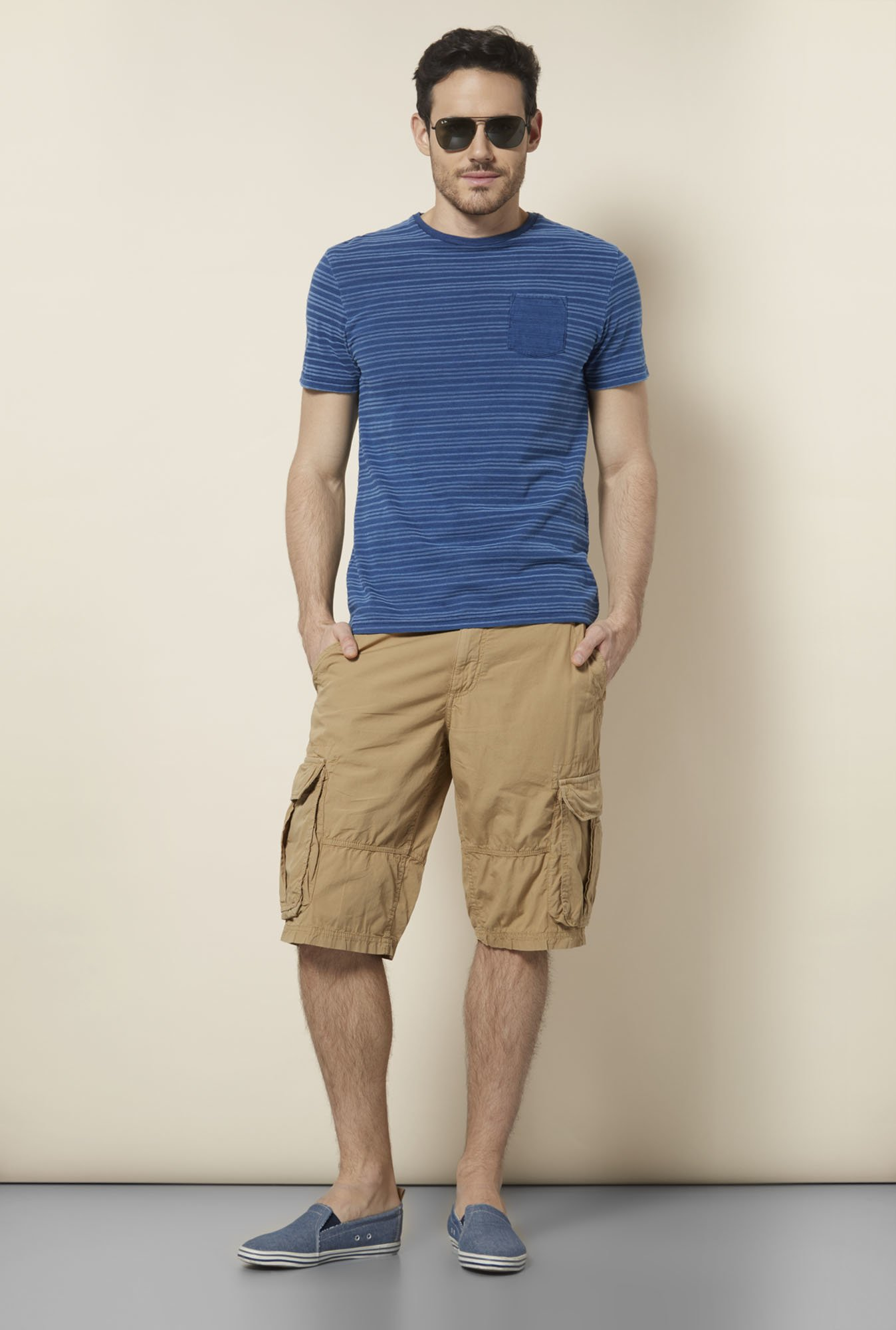 celio* Khaki Cotton Shorts