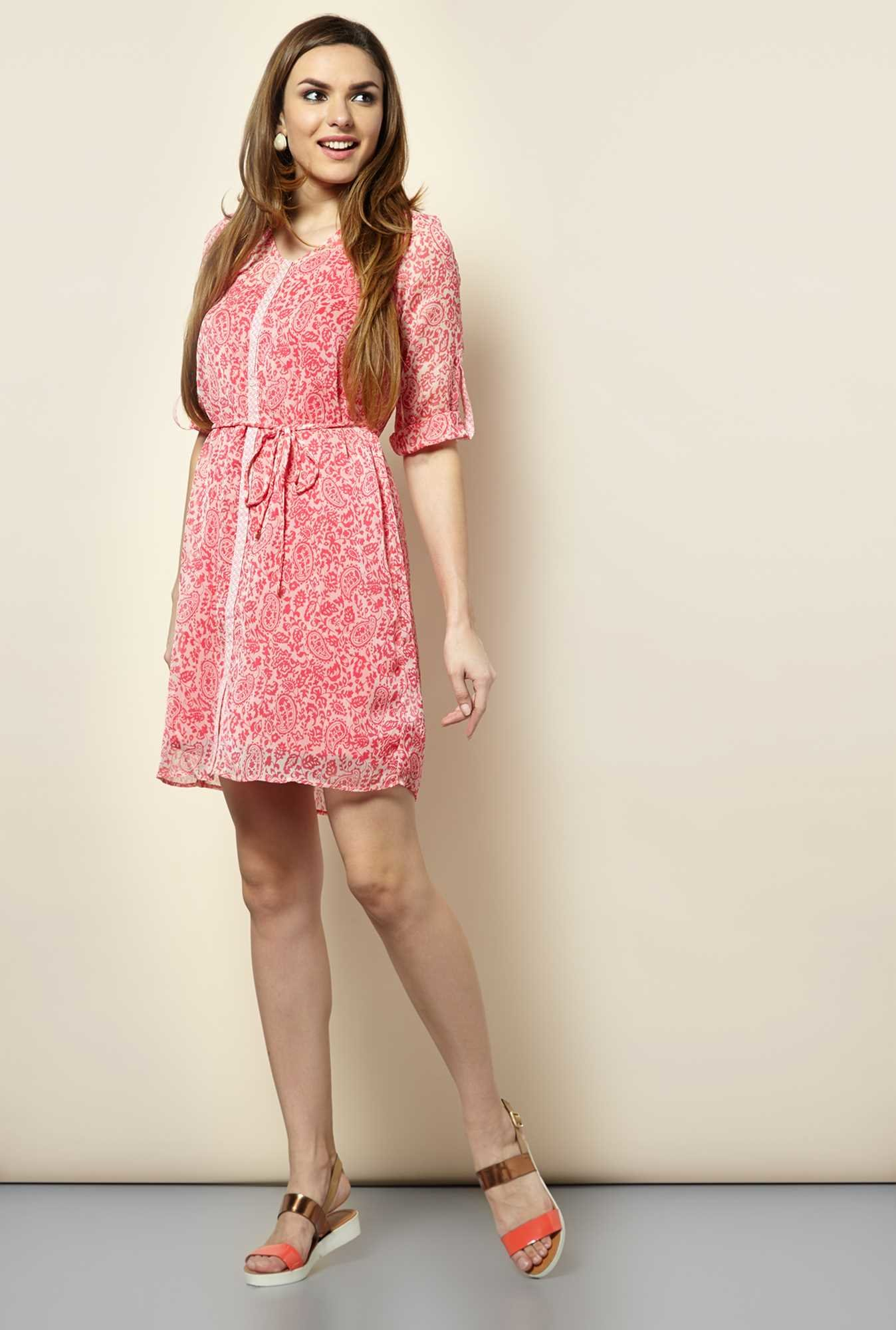 109 F Pink Paisley Casual Dress