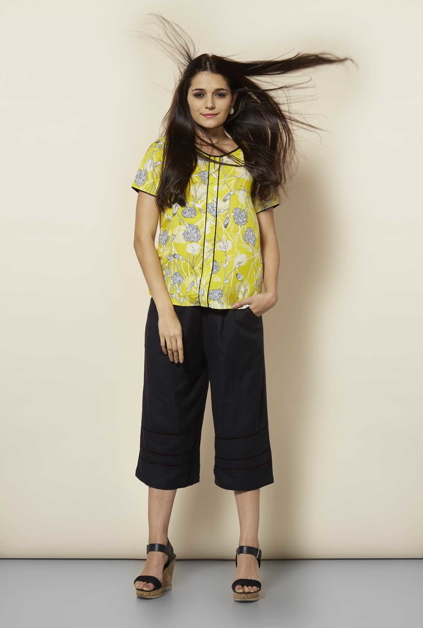 109 F Yellow Blouson Printed Top