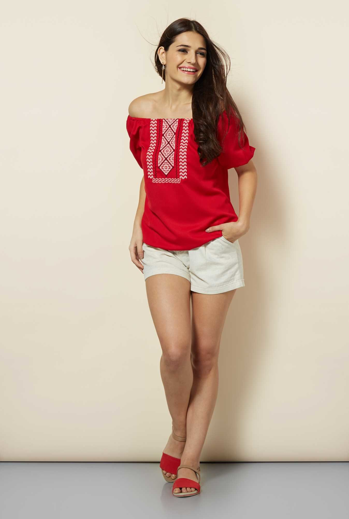 109 F Red Embroidered Top