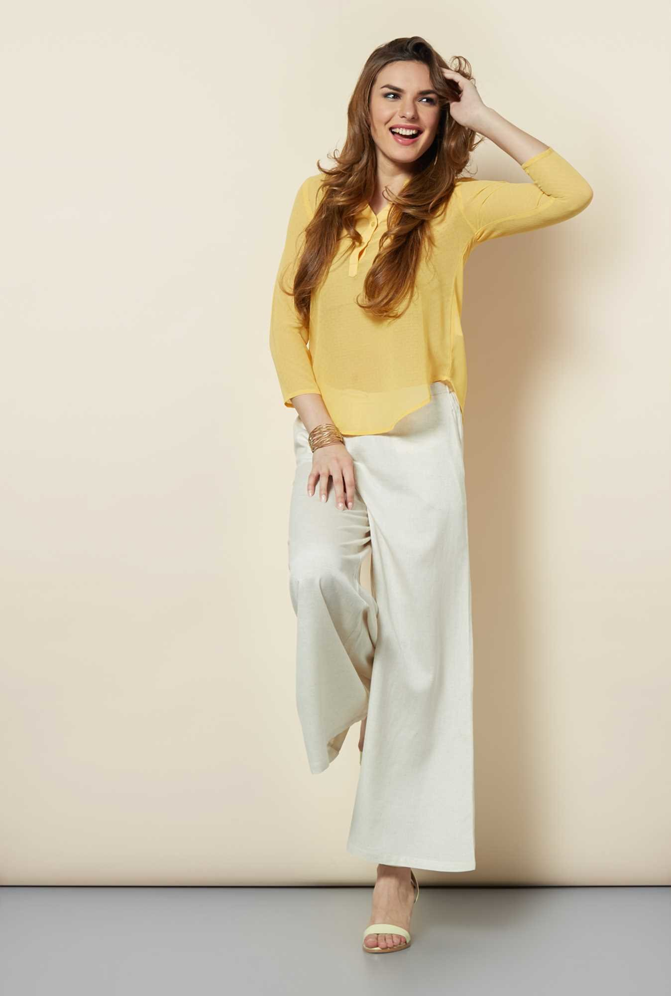 109 F Yellow Sheer Georgette Top
