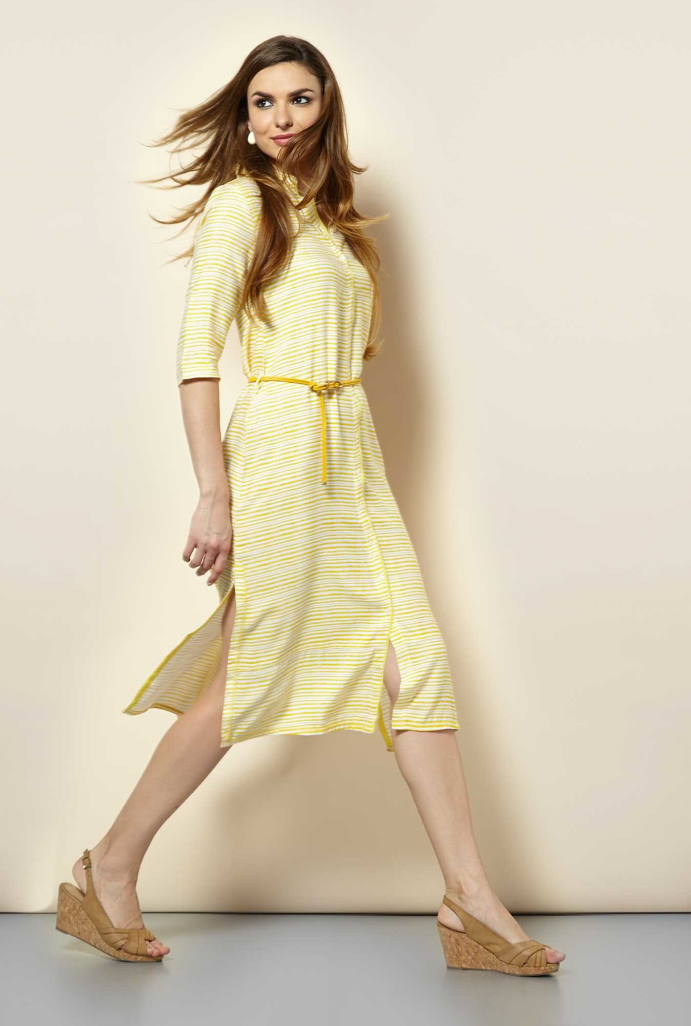 109 F Yellow Stripes Casual Dress