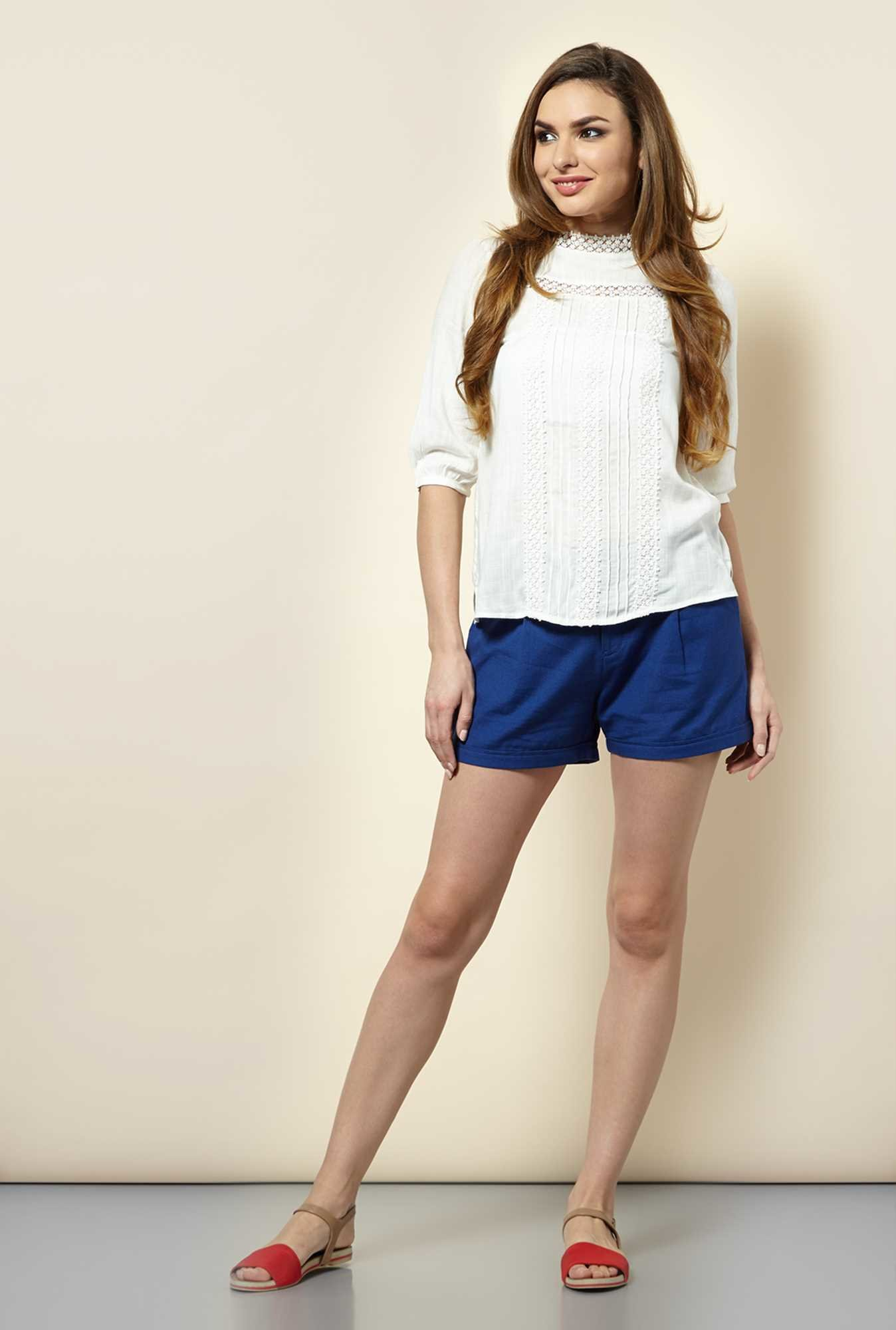 109 F Navy Cotton Solid Shorts